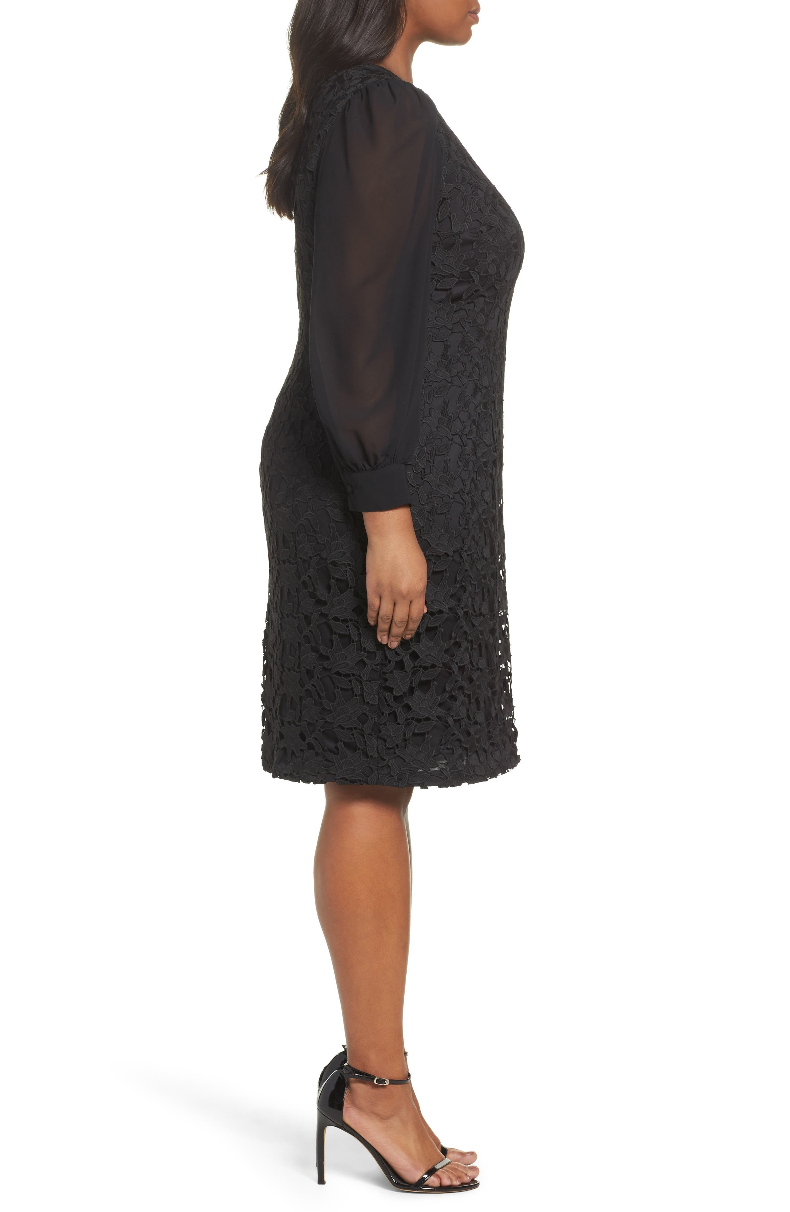 Ava Lace Sheath Dress,                             Alternate thumbnail 3, color,                             Black