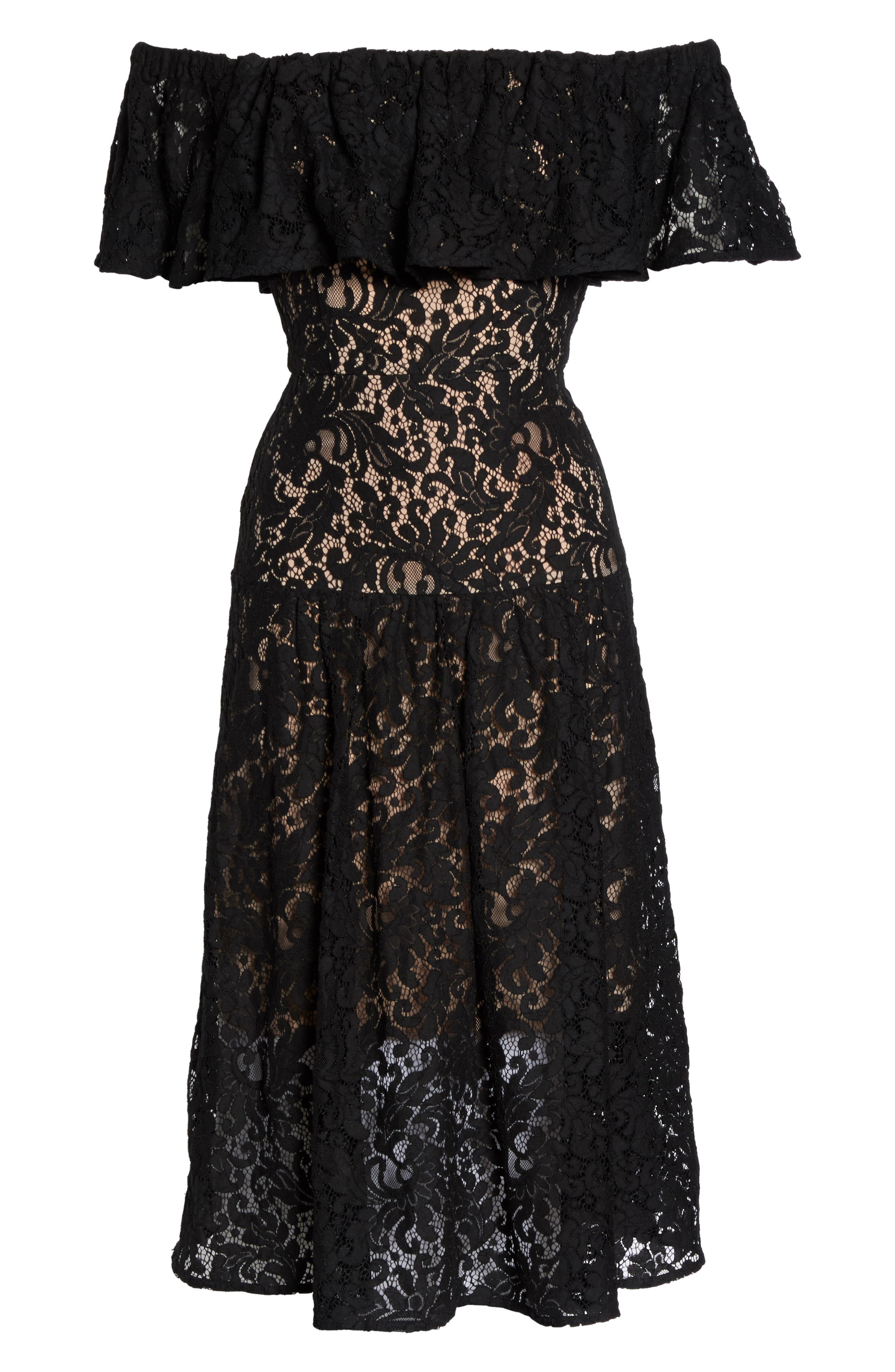 Sunday Silence Lace Off the Shoulder Dress,                             Alternate thumbnail 6, color,                             Black