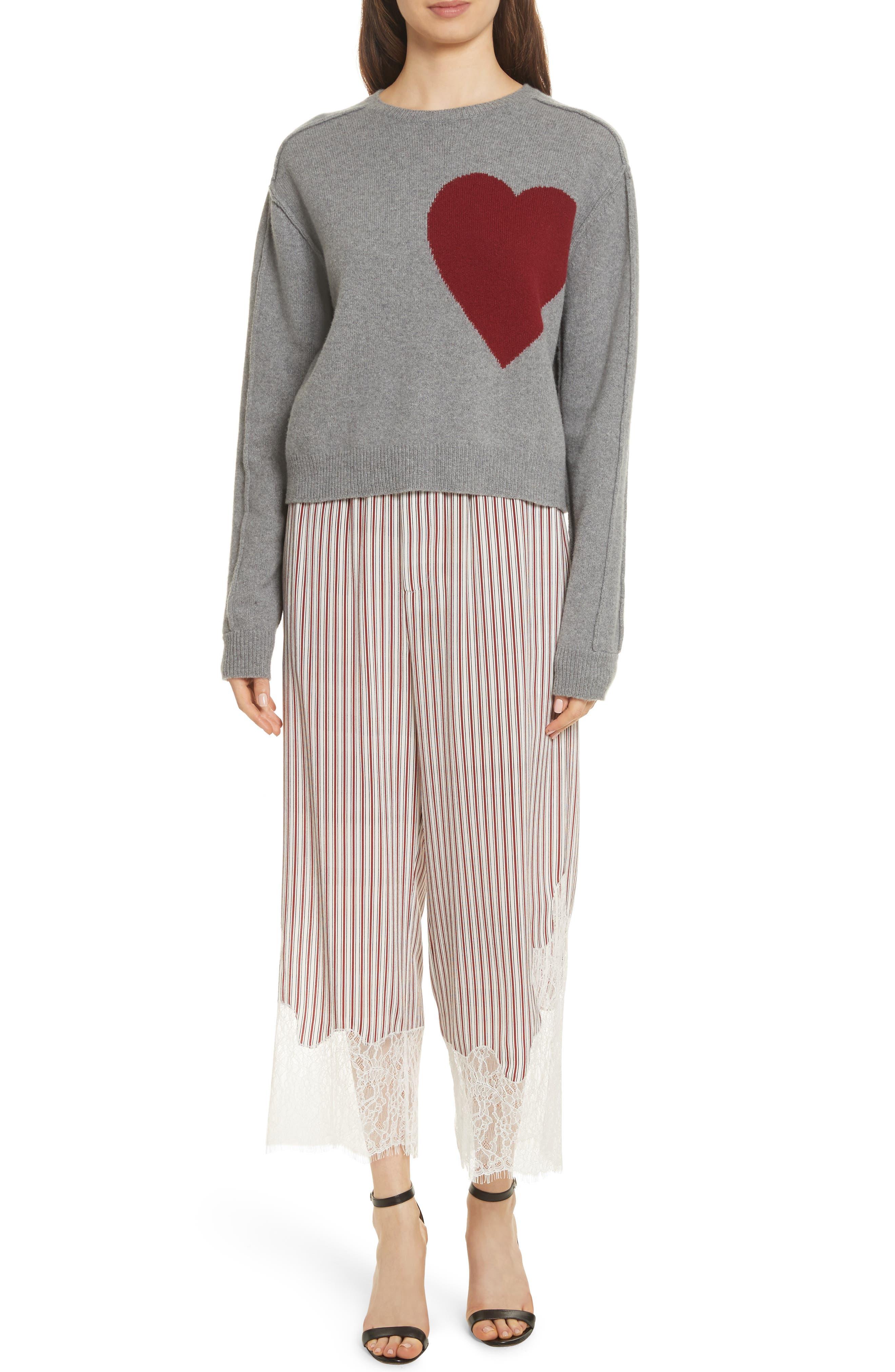 Lace Hem Stripe Pants,                             Alternate thumbnail 7, color,                             Crimson Barcode