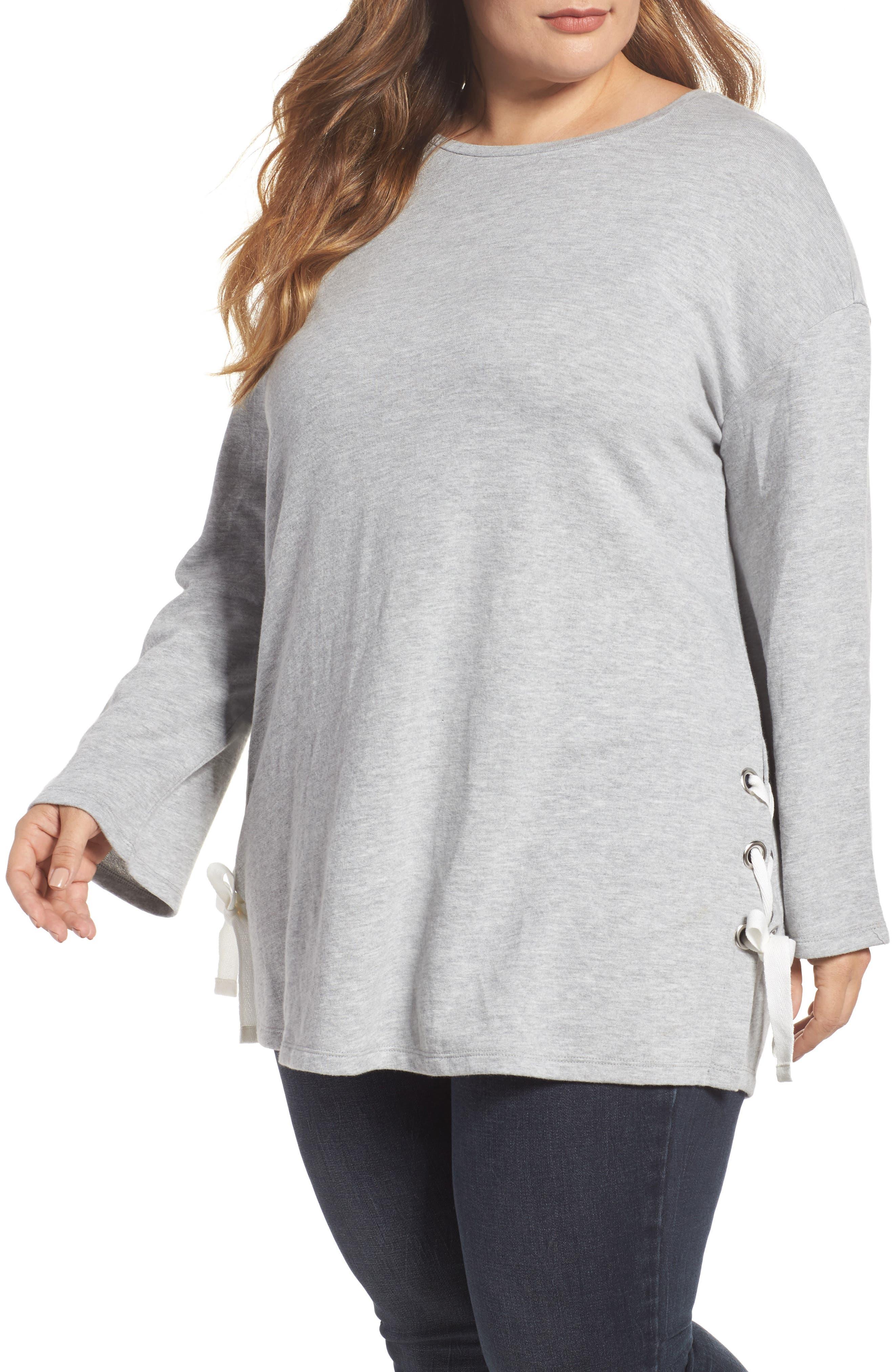 Lace-Up Side Sweatshirt,                             Main thumbnail 1, color,                             Grey Heather