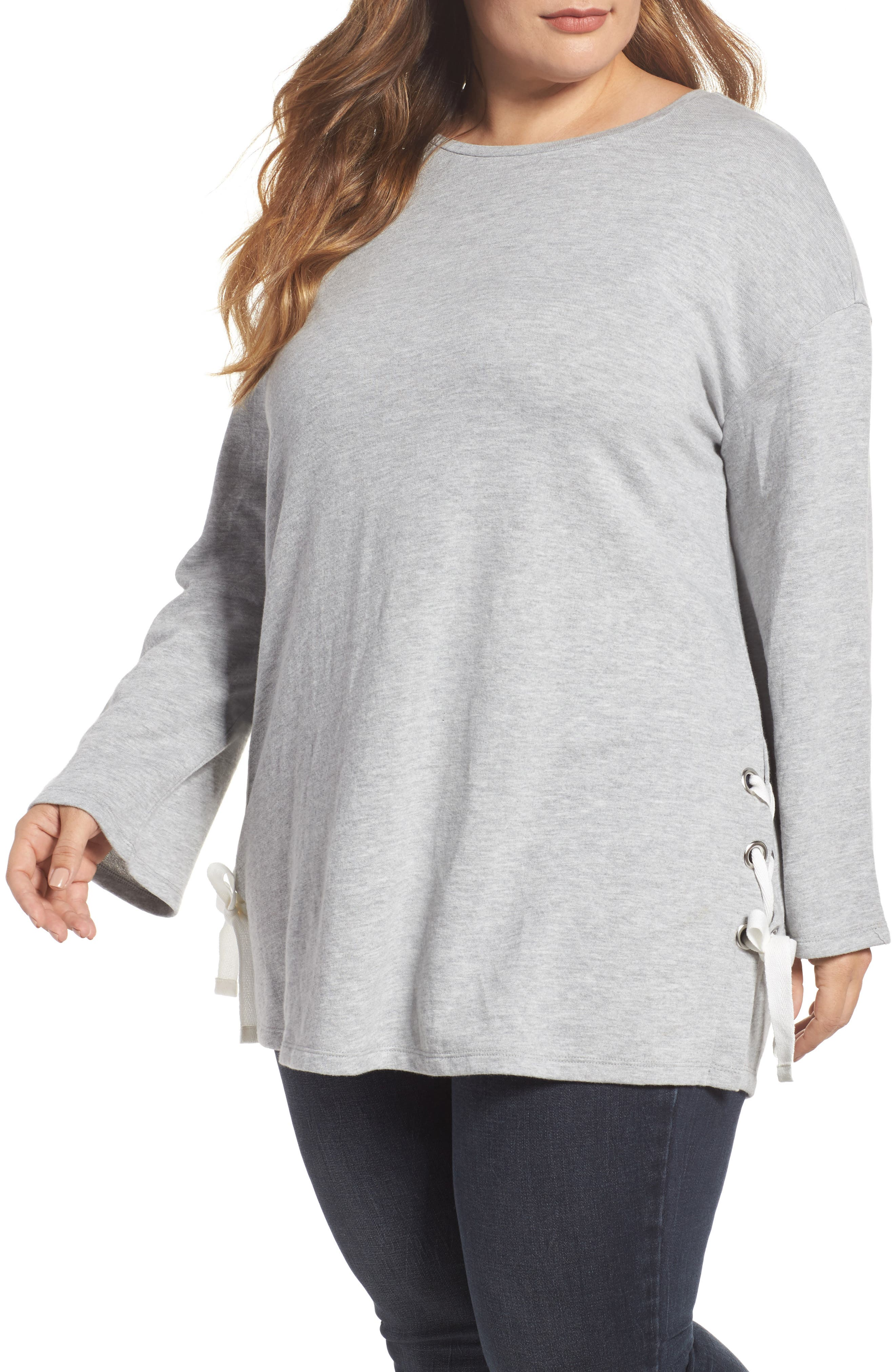 Lace-Up Side Sweatshirt,                         Main,                         color, Grey Heather