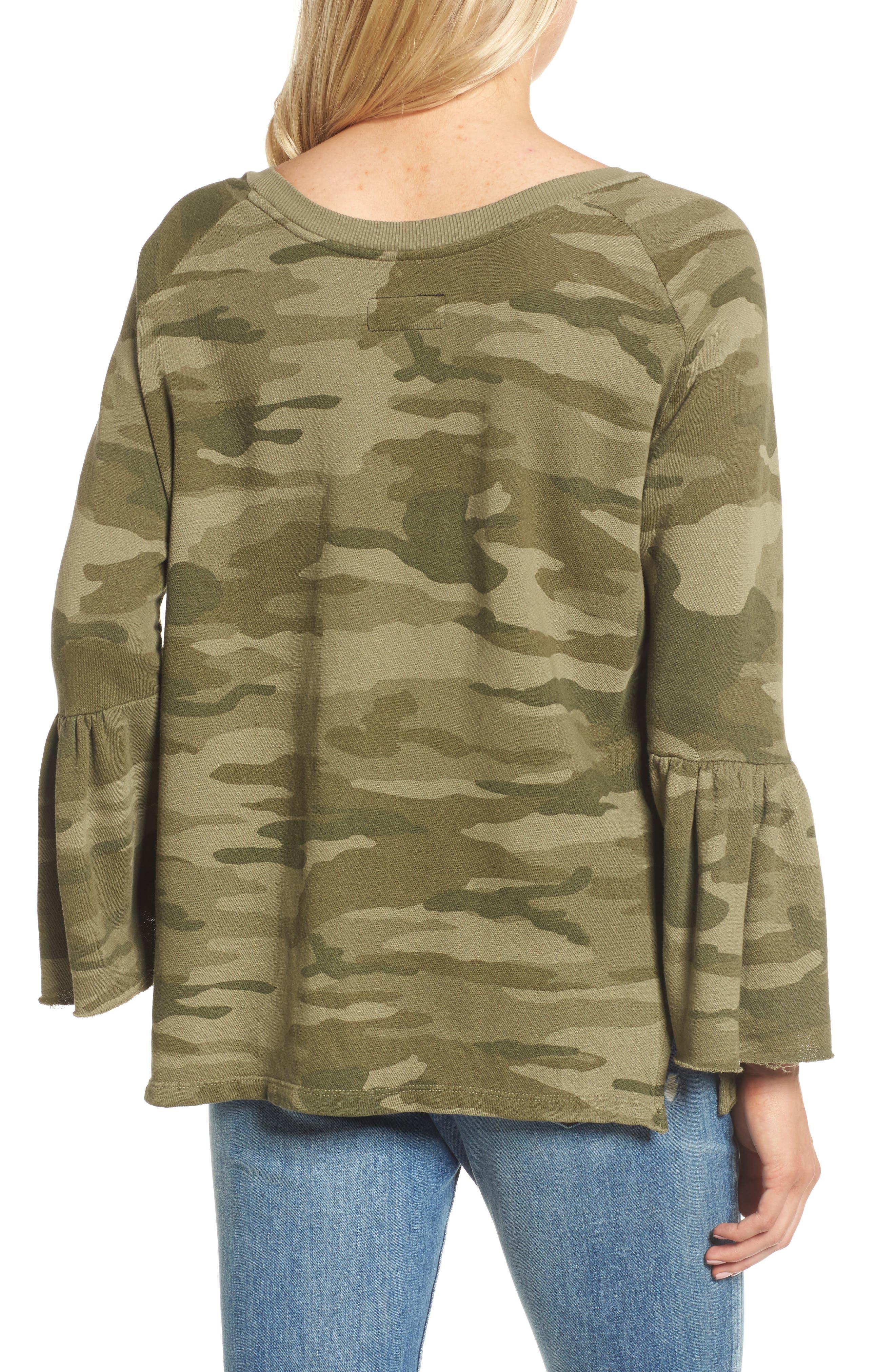 The Ruffle Sleeve Sweatshirt,                             Alternate thumbnail 2, color,                             Essentials Camo