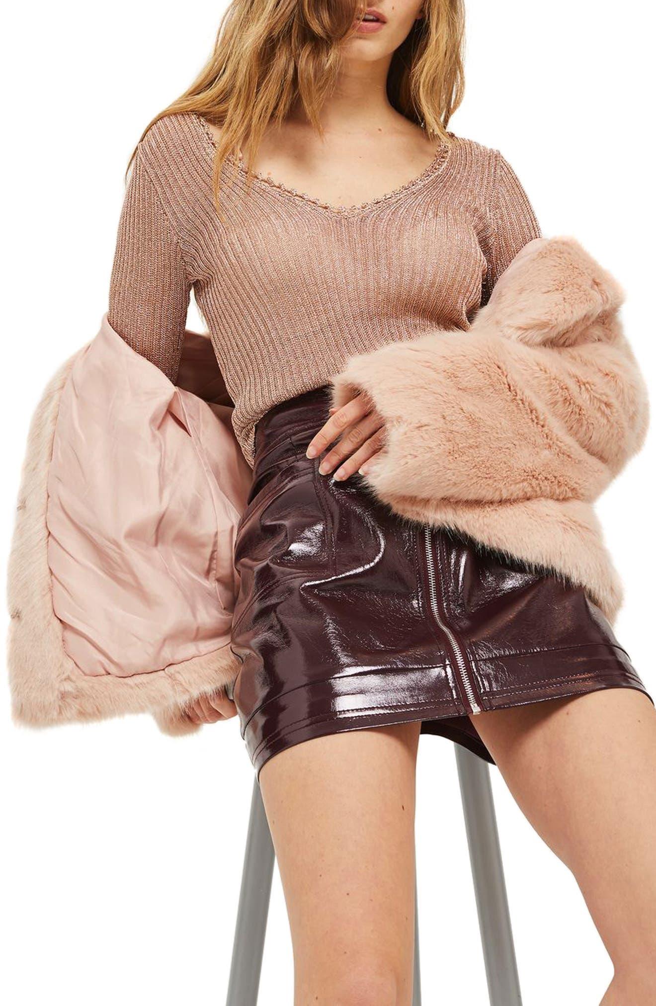 Alternate Image 2  - Topshop Metallic Rib Sweater