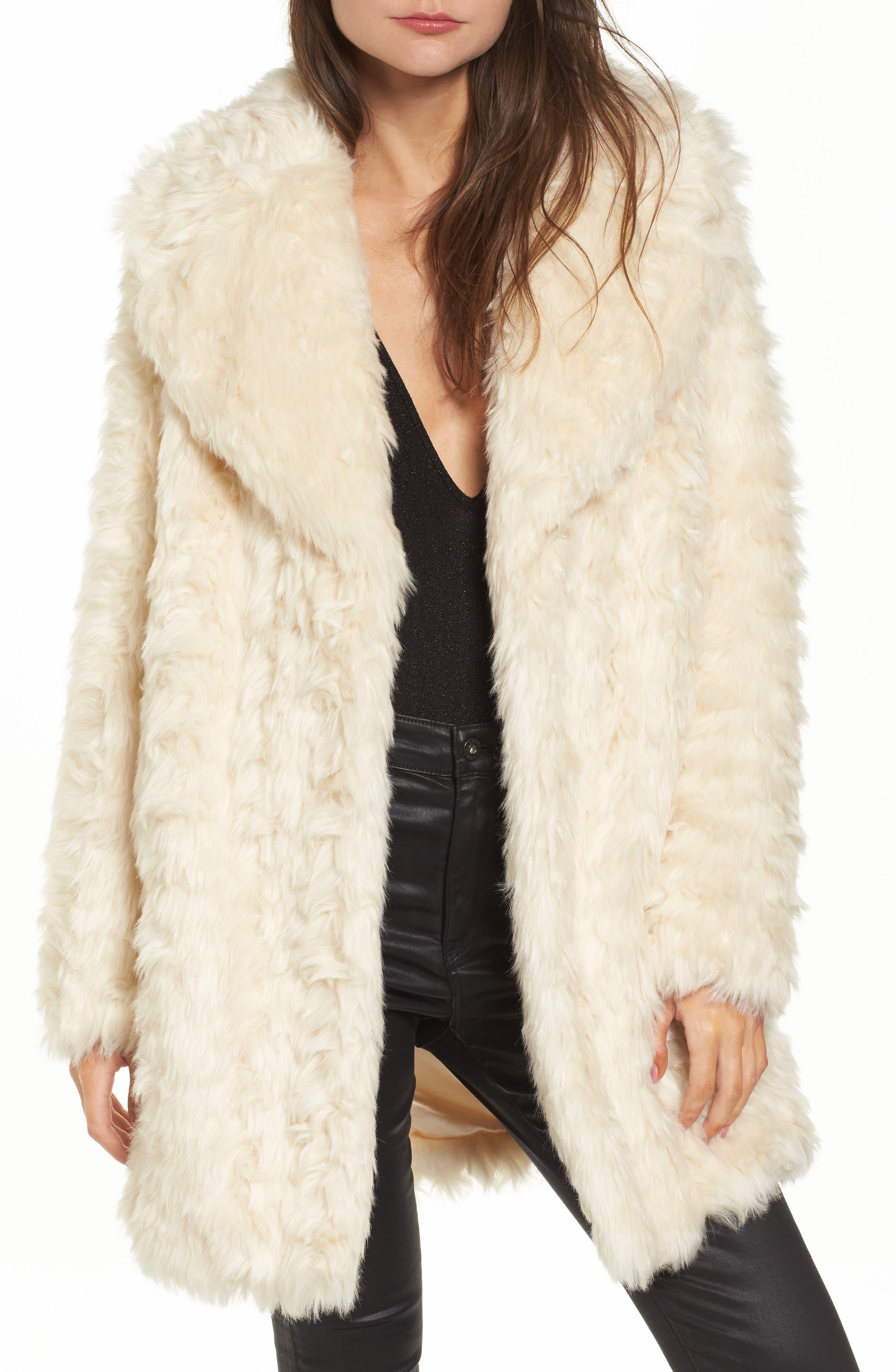 Curly Faux Fur Coat,                             Main thumbnail 1, color,                             Ivory