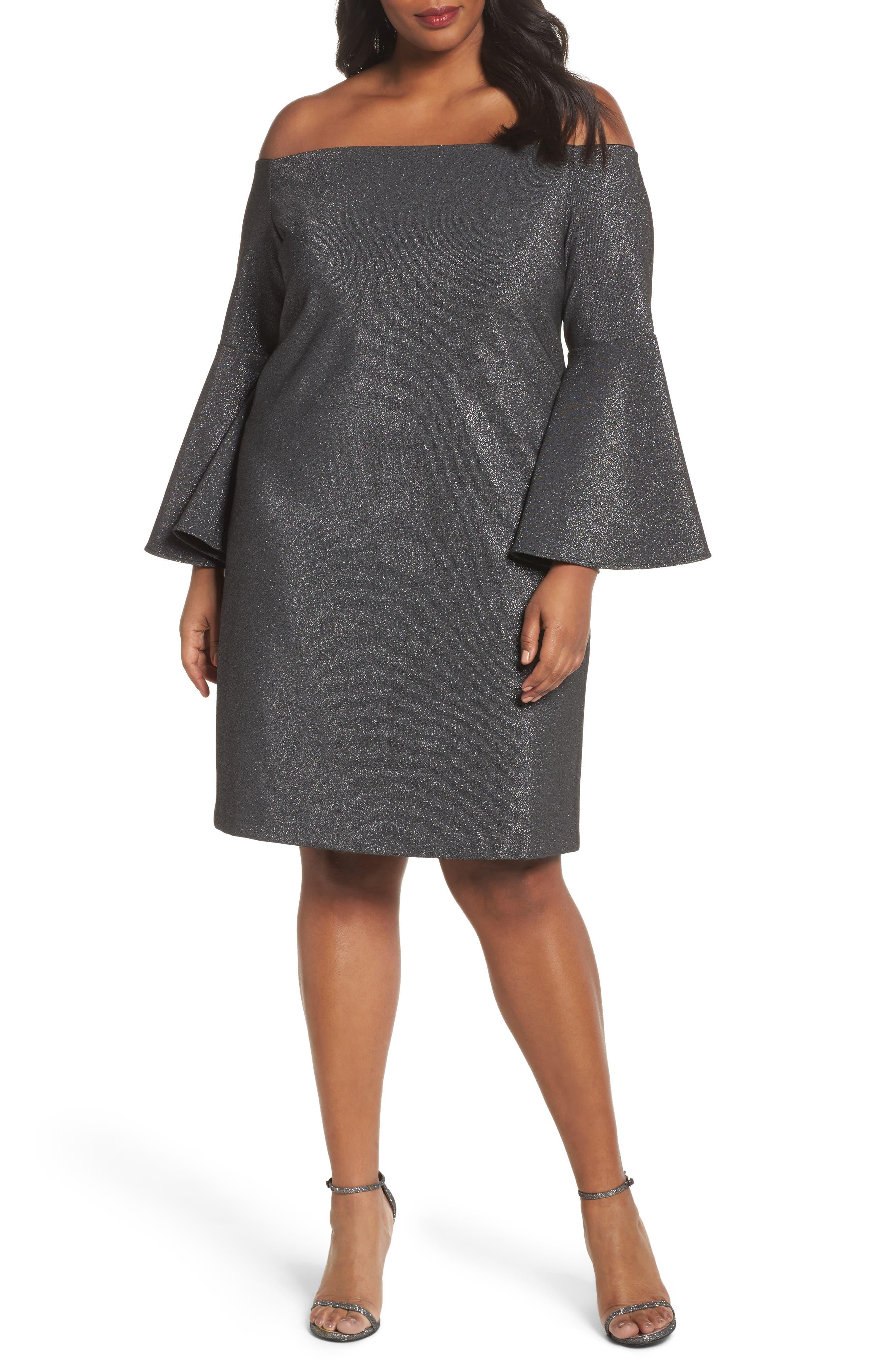 Off the Shoulder Metallic Sheath Dress,                             Main thumbnail 1, color,                             Rich Black