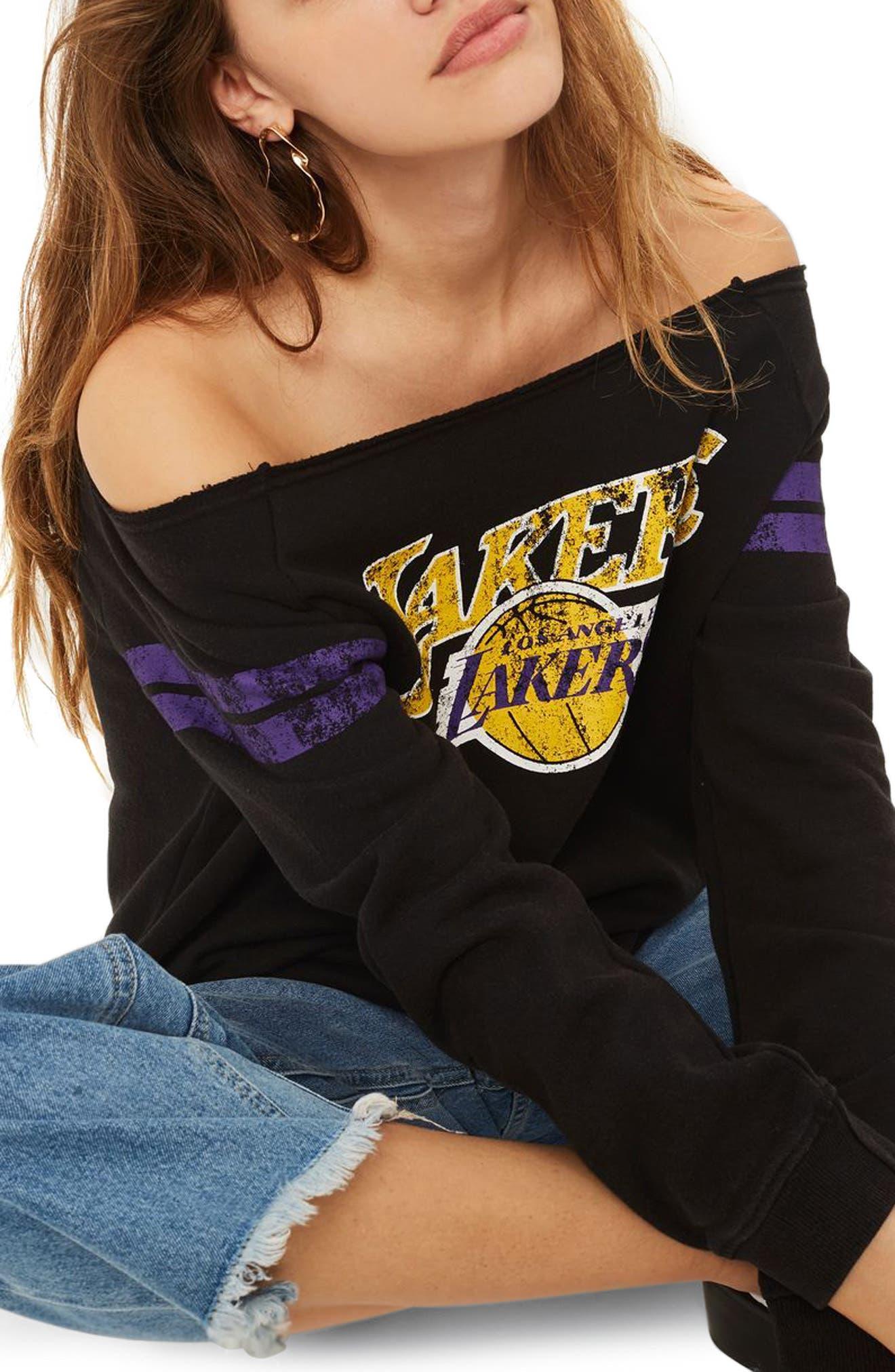 x UNK Lakers Convertible Sweatshirt,                             Main thumbnail 1, color,                             Black Multi