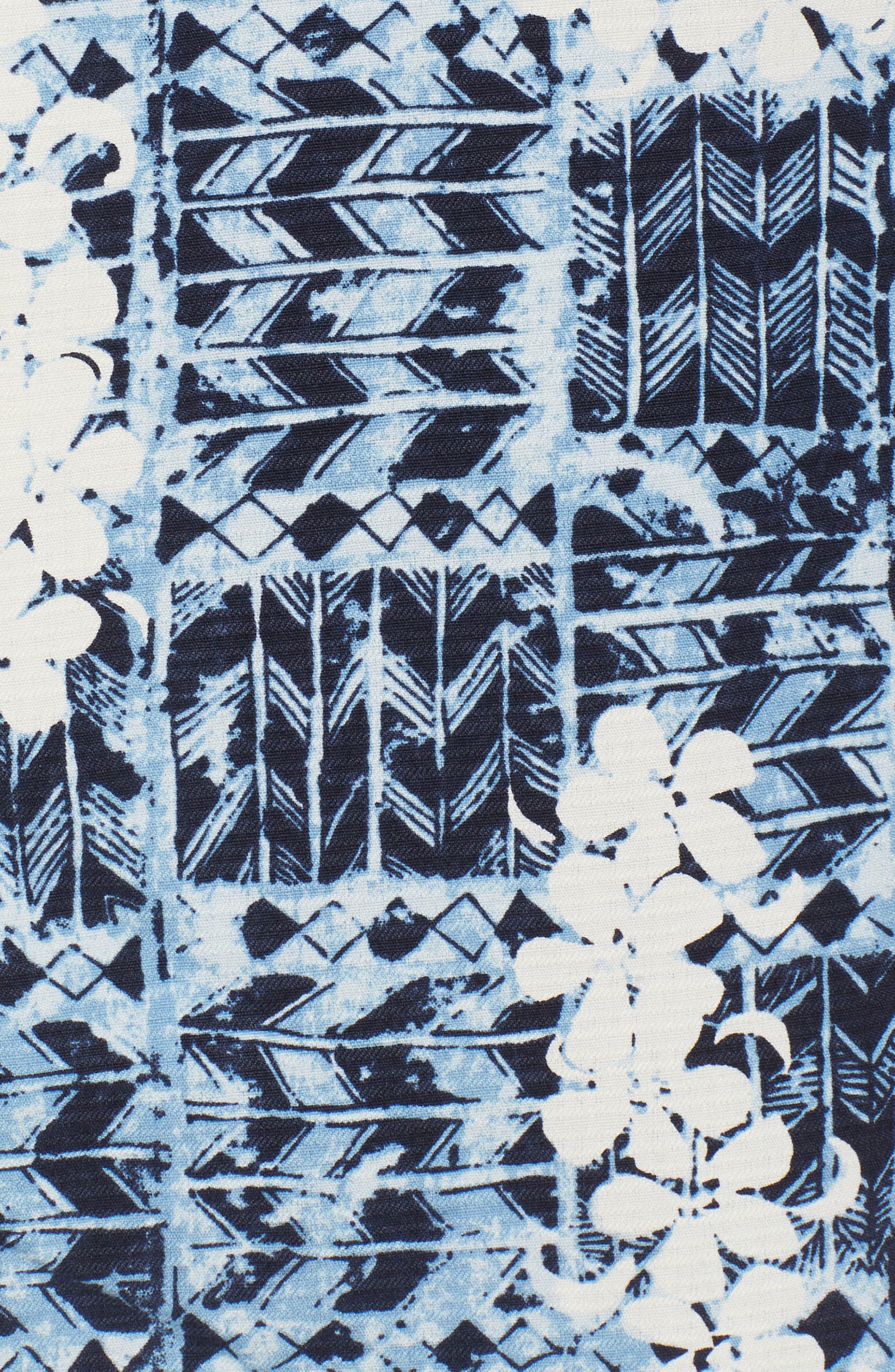 Olei Olei Silk Camp Shirt,                             Alternate thumbnail 5, color,                             Bering Blue