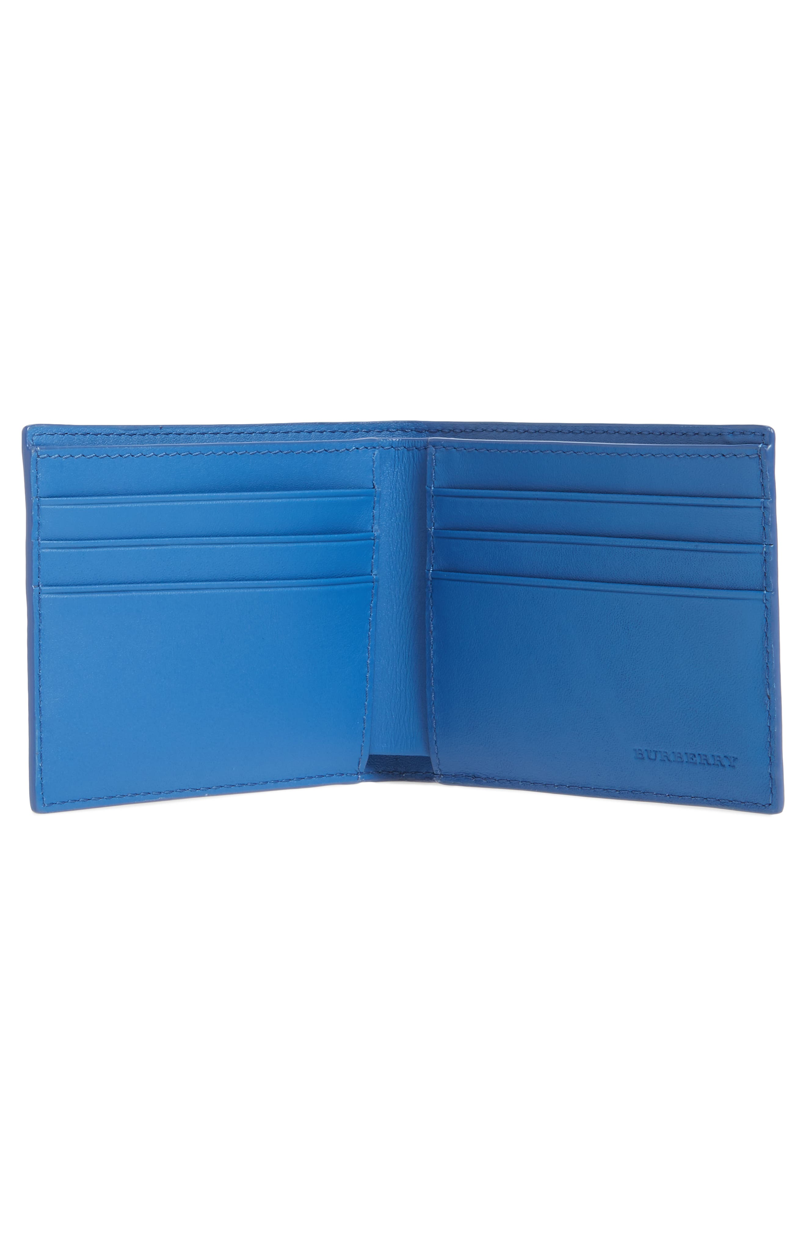 Check Faux Leather Wallet,                             Alternate thumbnail 2, color,                             Navy/ Blue