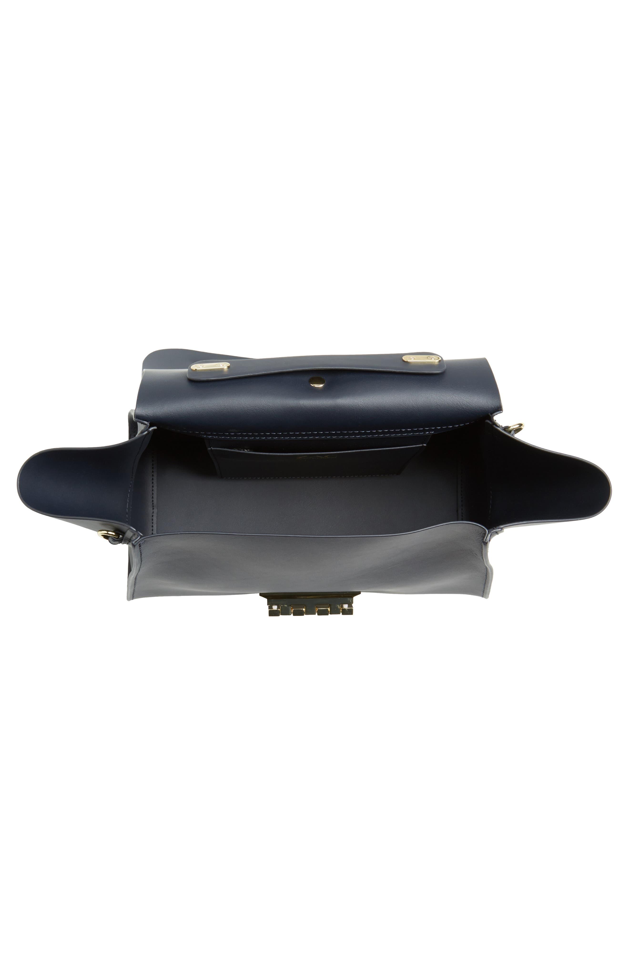 Eartha Iconic Calfskin Leather Top Handle Satchel,                             Alternate thumbnail 4, color,                             Navy