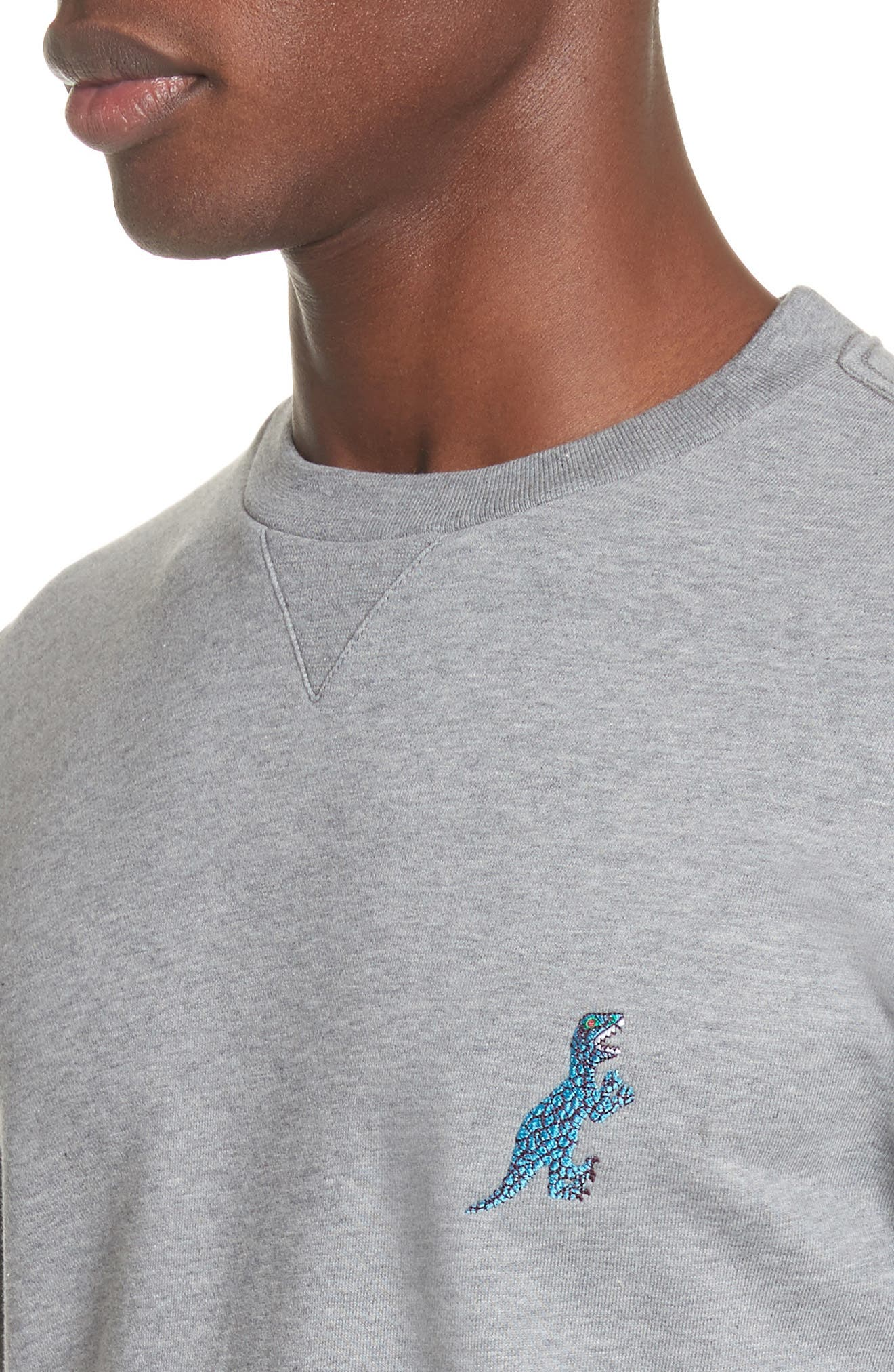 Dino Embroidered Crewneck Sweatshirt,                             Alternate thumbnail 4, color,                             Grey
