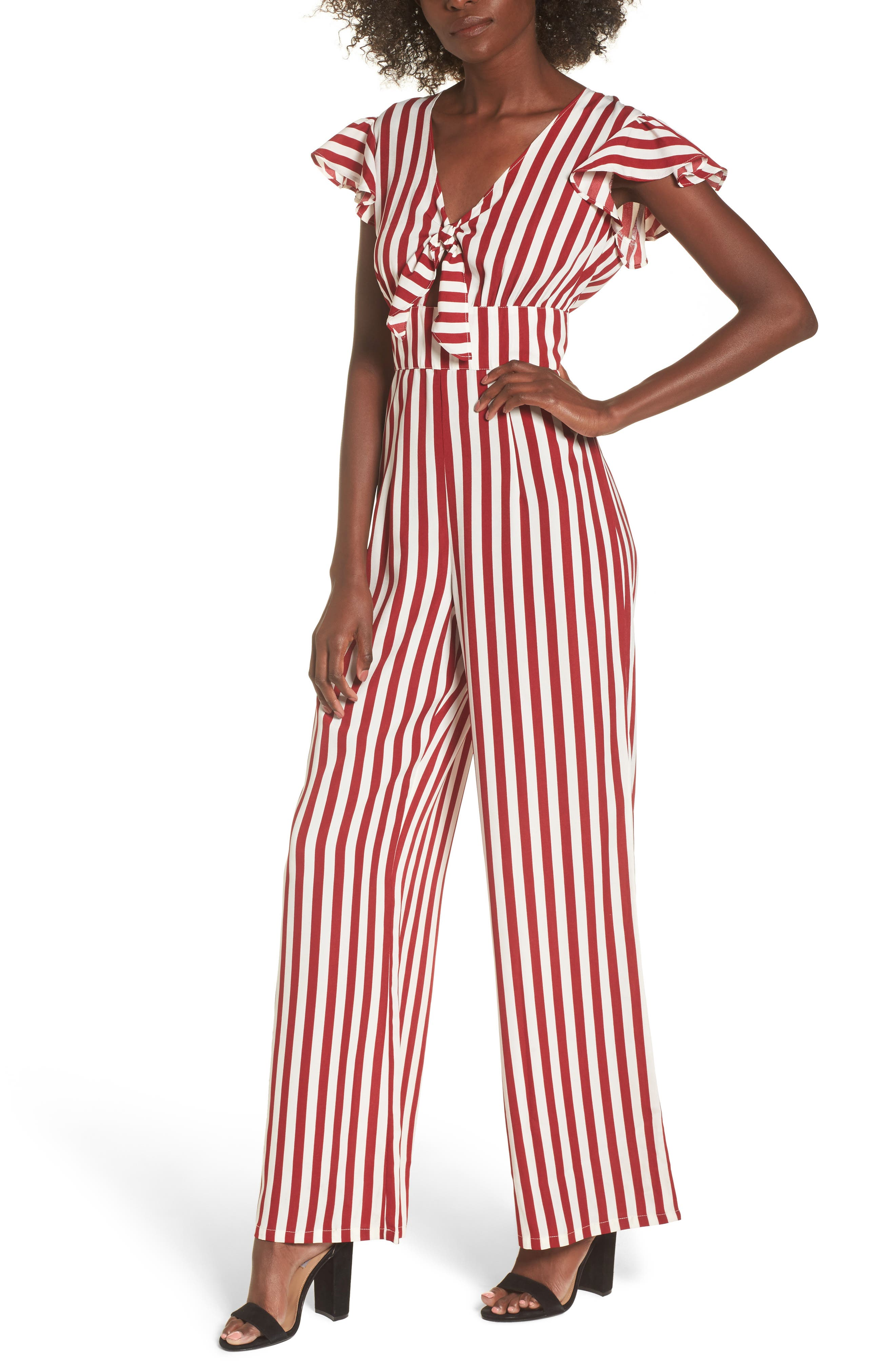 Tie Front Wide Leg Jumpsuit,                         Main,                         color, Red White Stripe