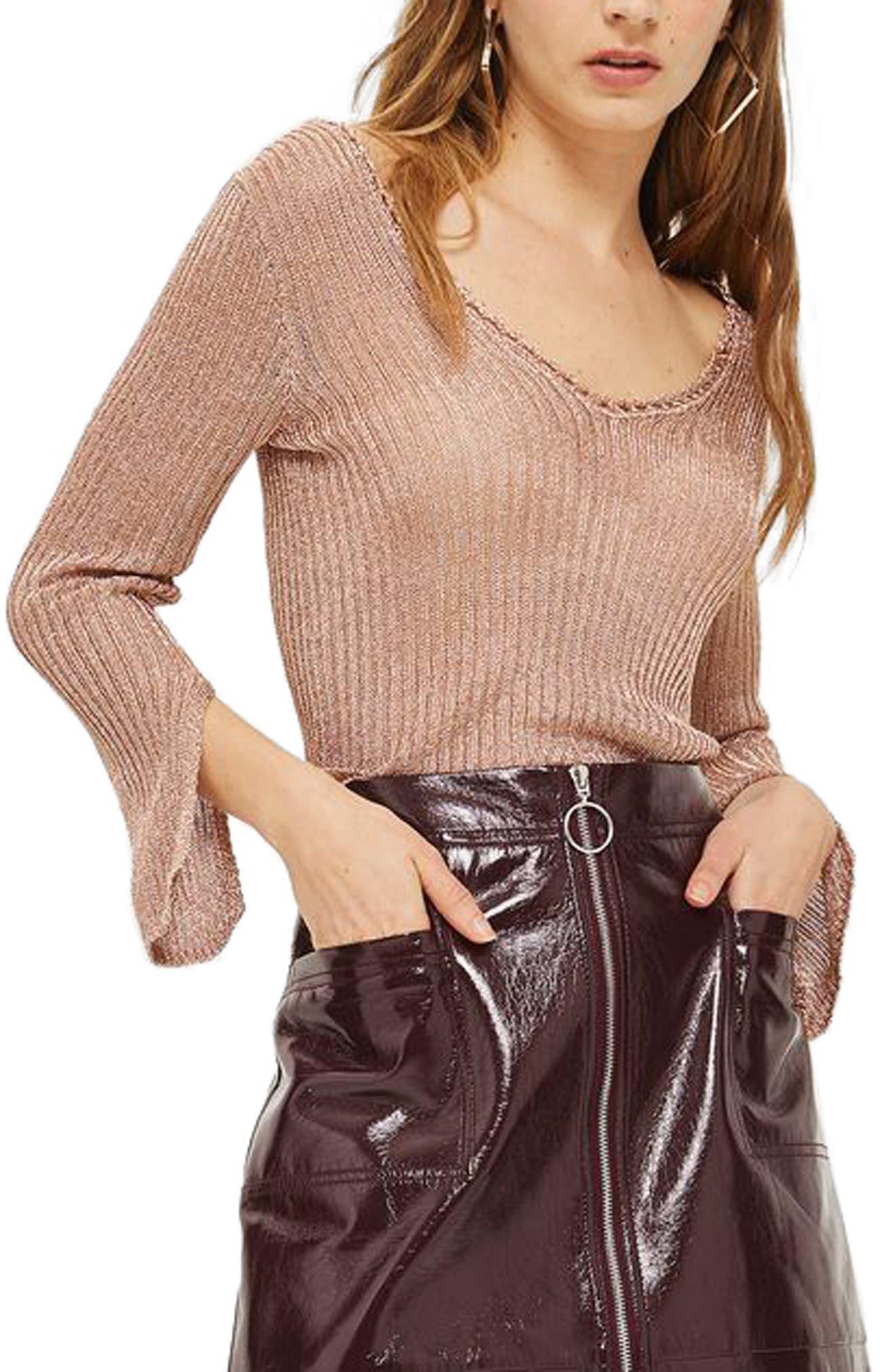 Metallic Rib Sweater,                         Main,                         color, Rose Gold