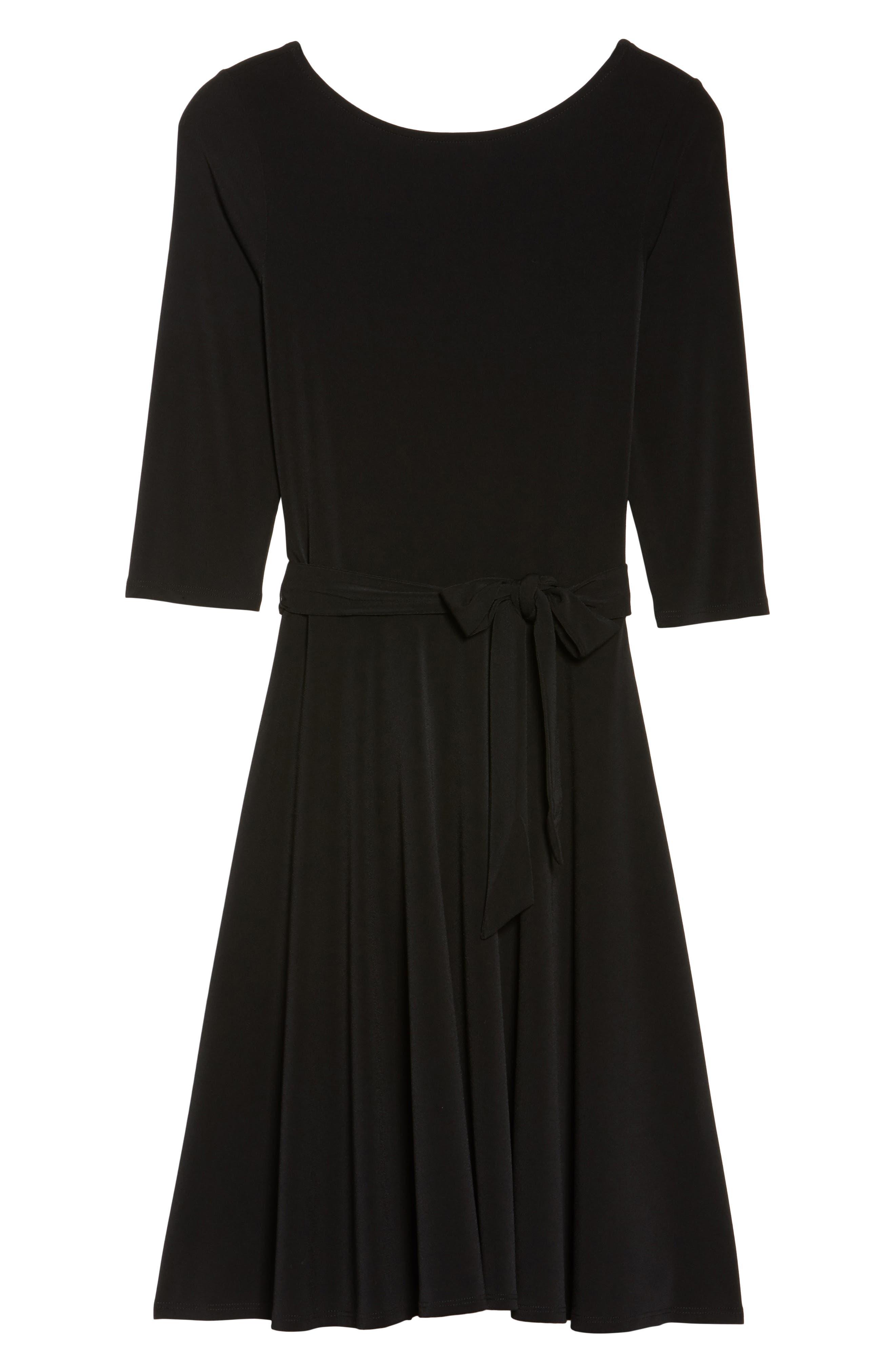 Belted Print Jersey A-Line Dress,                             Alternate thumbnail 7, color,                             Black Crepe