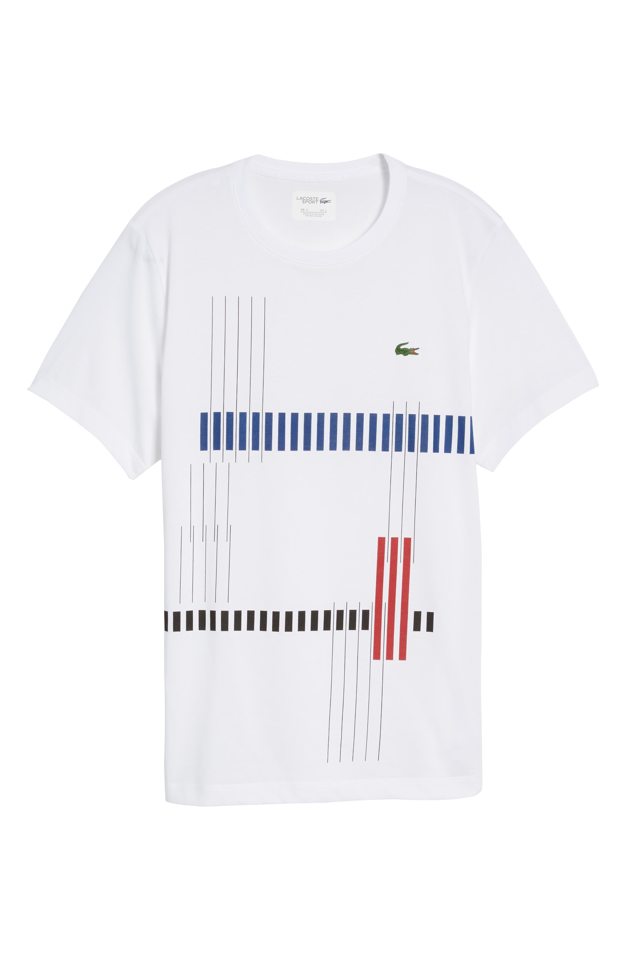 Tech Vertical Stripe Graphic T-Shirt,                             Alternate thumbnail 5, color,                             U88 White/ Ocean-Ladybird-Blac