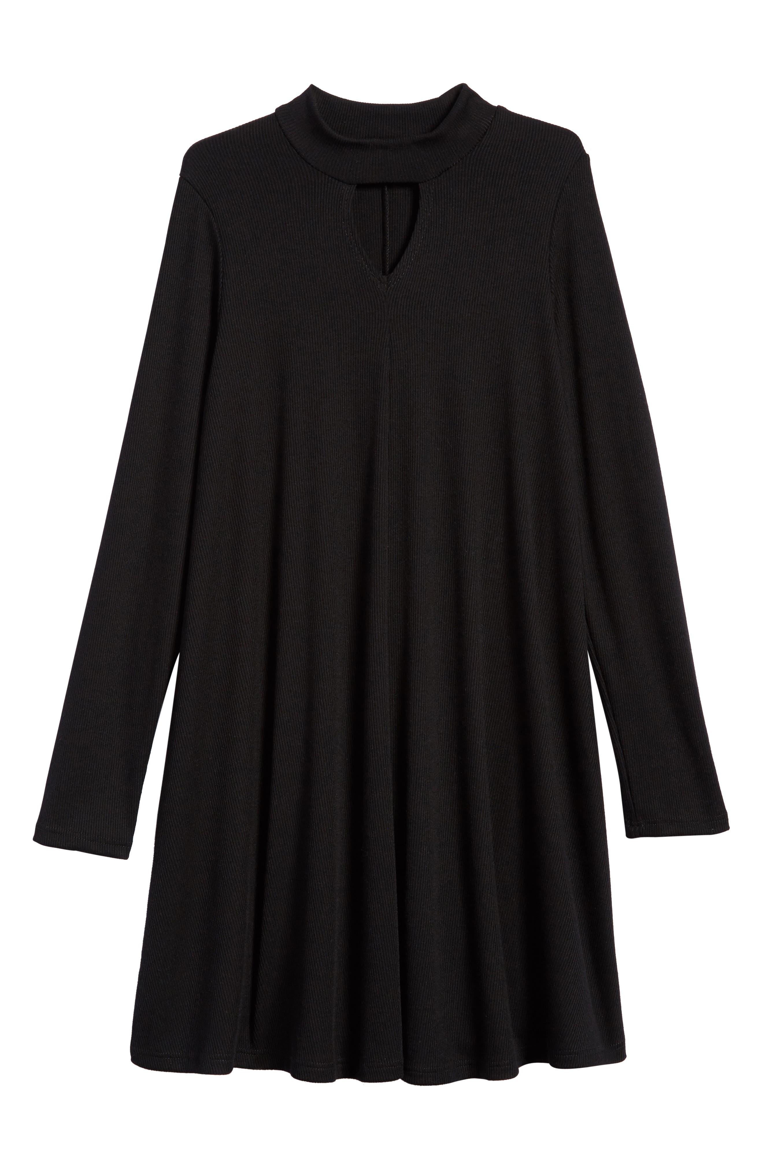 Mock Neck Knit Dress,                             Main thumbnail 1, color,                             Black