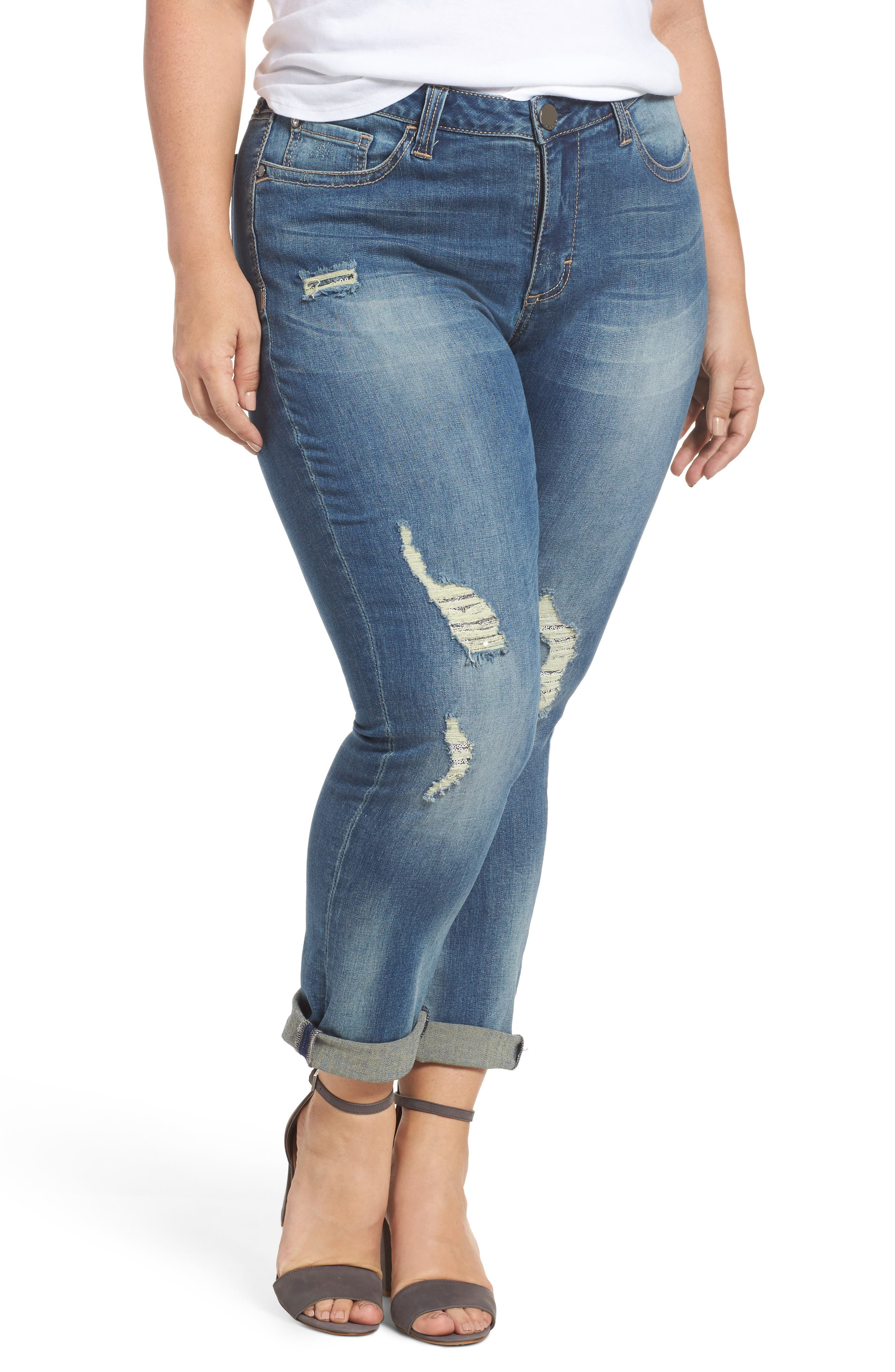 Alternate Image 1 Selected - Seven7 Ripped & Embellished Skinny Jeans (Banks) (Plus Size)