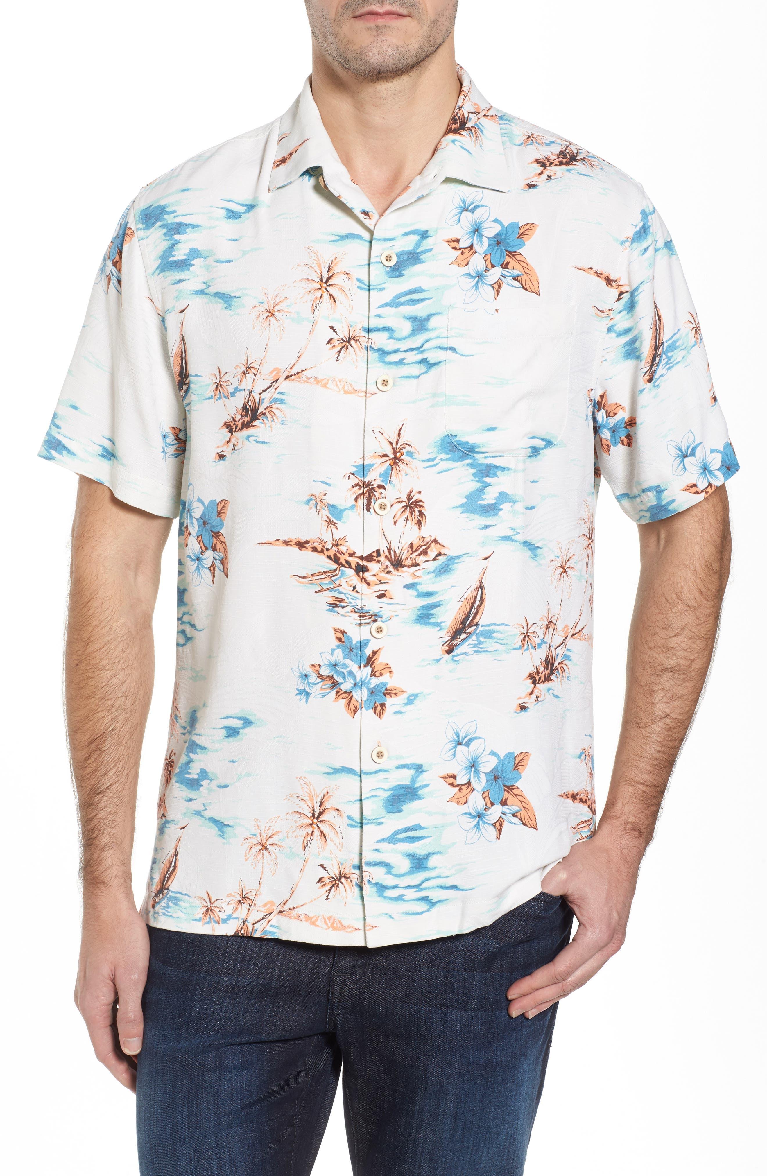 Island Hopping Silk Camp Shirt,                         Main,                         color, Continental