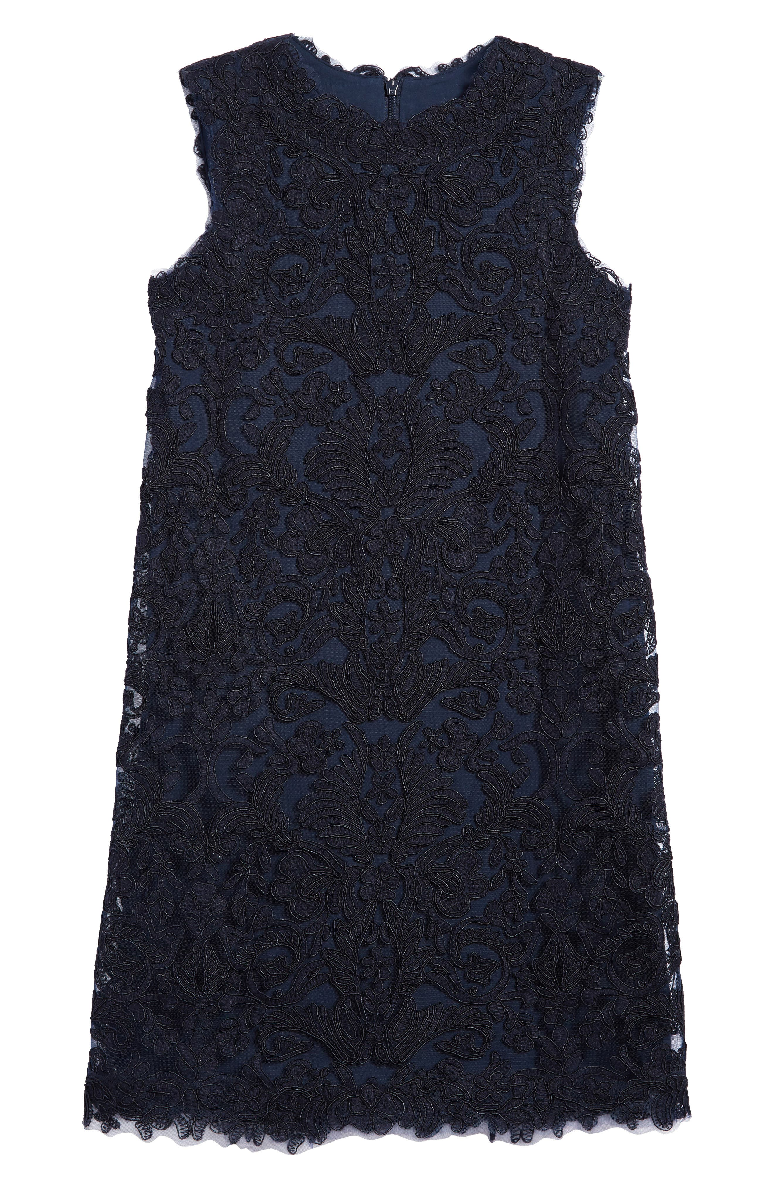 'Honeysuckle' Embroidered Tulle Dress,                             Main thumbnail 1, color,                             Navy