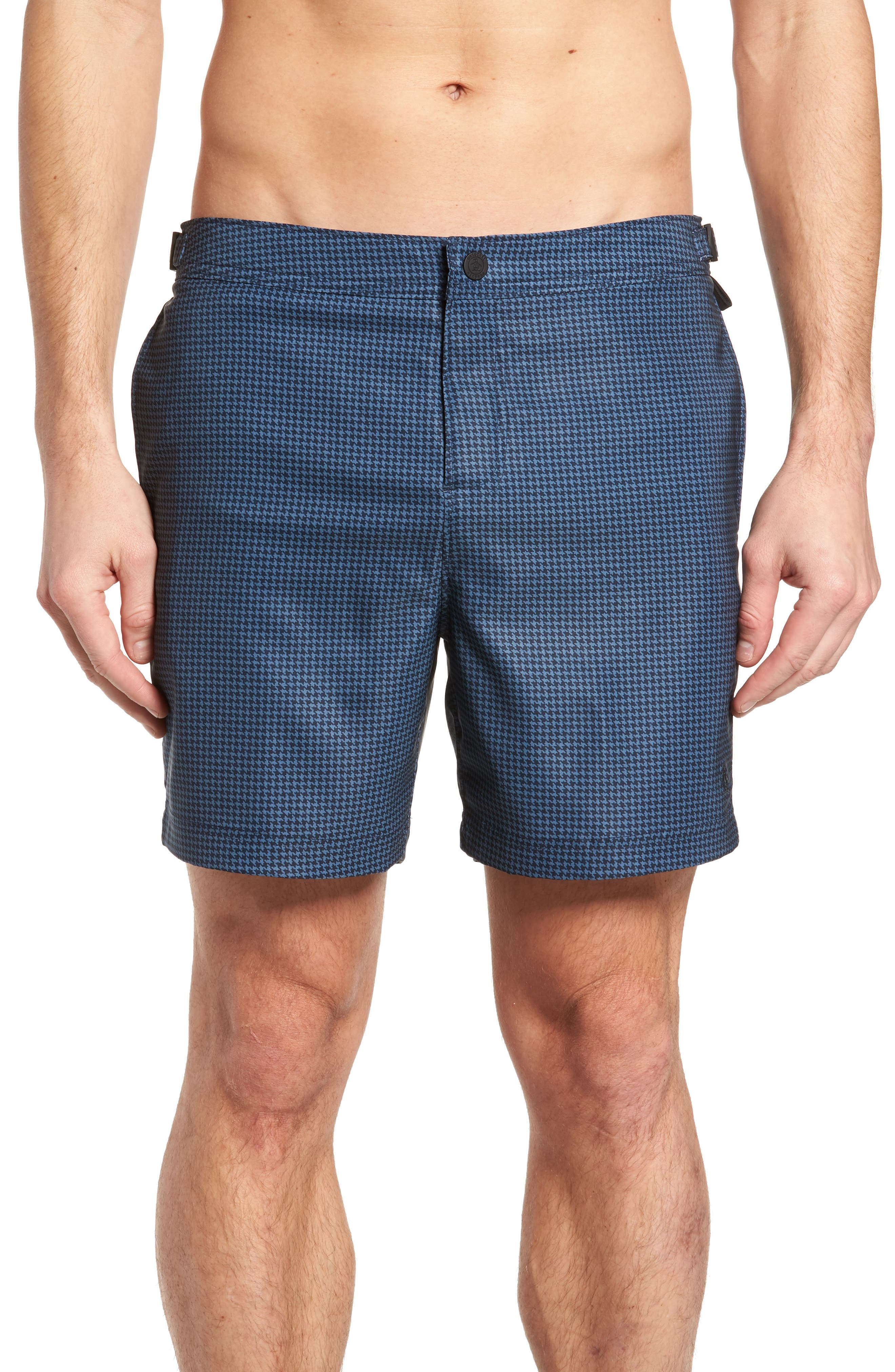 Houndstooth Stretch Volley Board Shorts,                         Main,                         color, Dark Sapphire