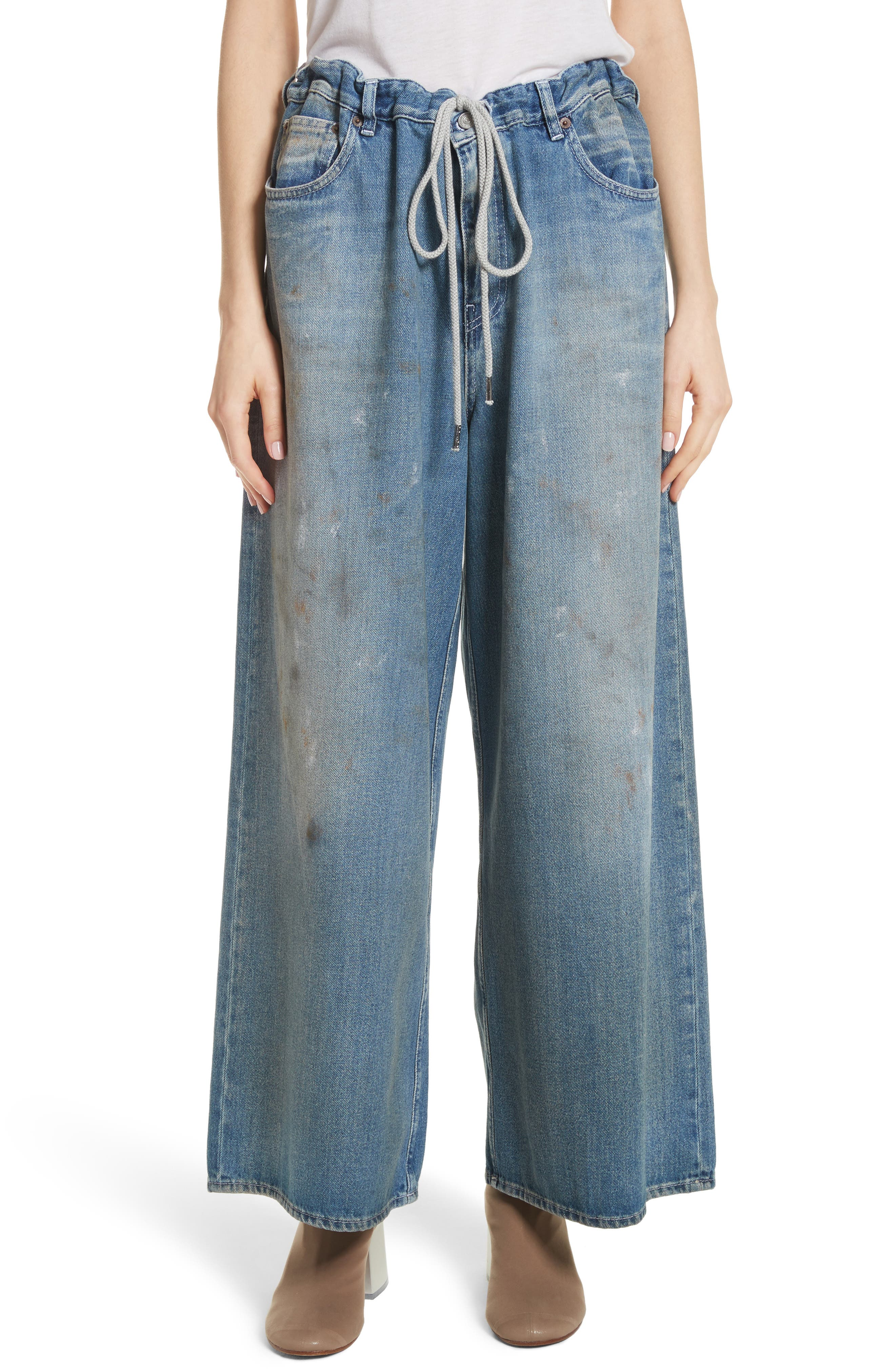 Drawstring Wide Leg Jeans,                             Main thumbnail 1, color,                             Indigo Stone Wash