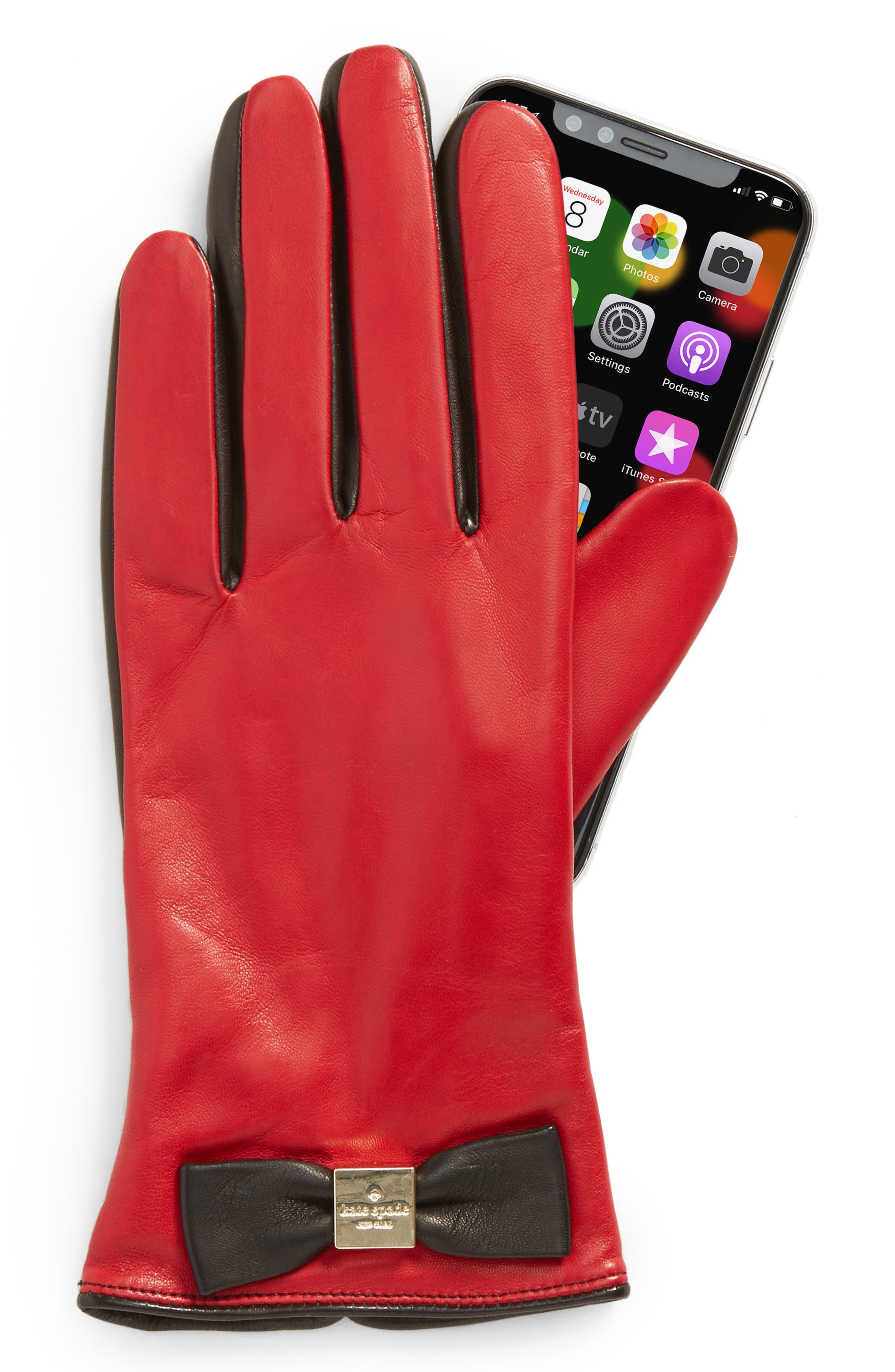 katespade new york'bow logo' gloves,                             Alternate thumbnail 2, color,                             Charm Red/Black