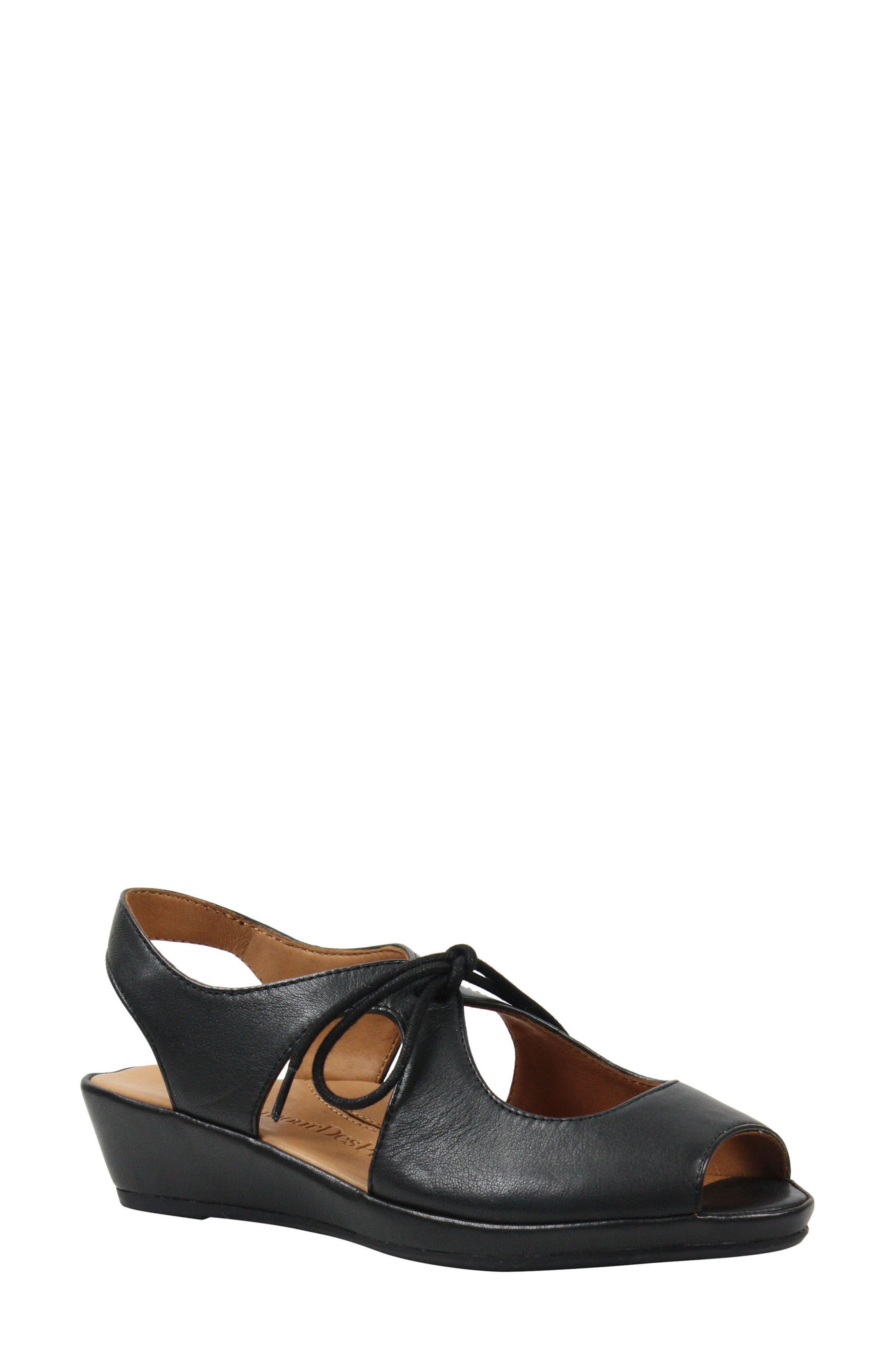 Brettany Sandal,                         Main,                         color, Black Leather