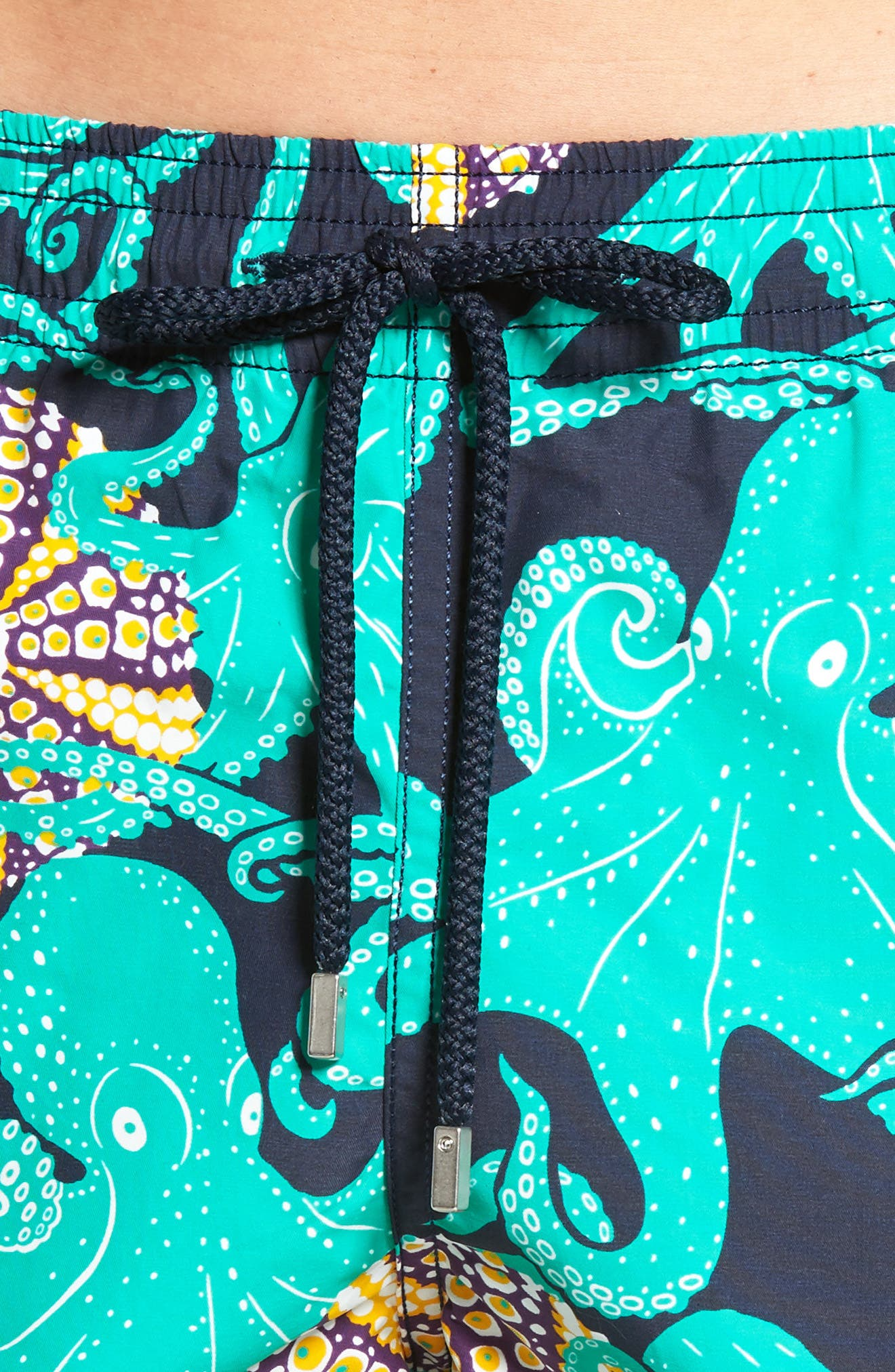 Octopus & Coral Swim Trunks,                             Alternate thumbnail 4, color,                             Navy