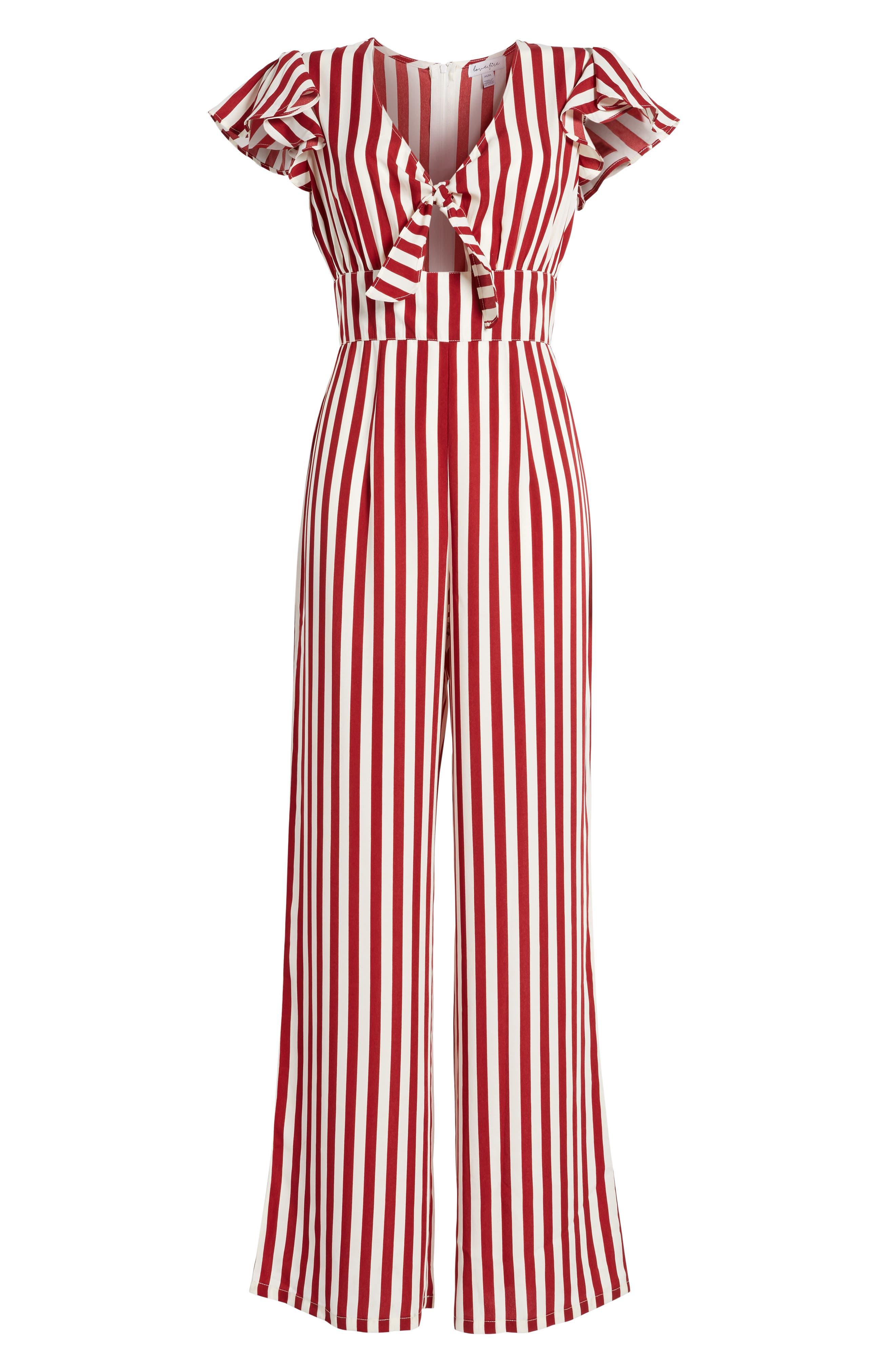 Tie Front Wide Leg Jumpsuit,                             Alternate thumbnail 6, color,                             Red White Stripe
