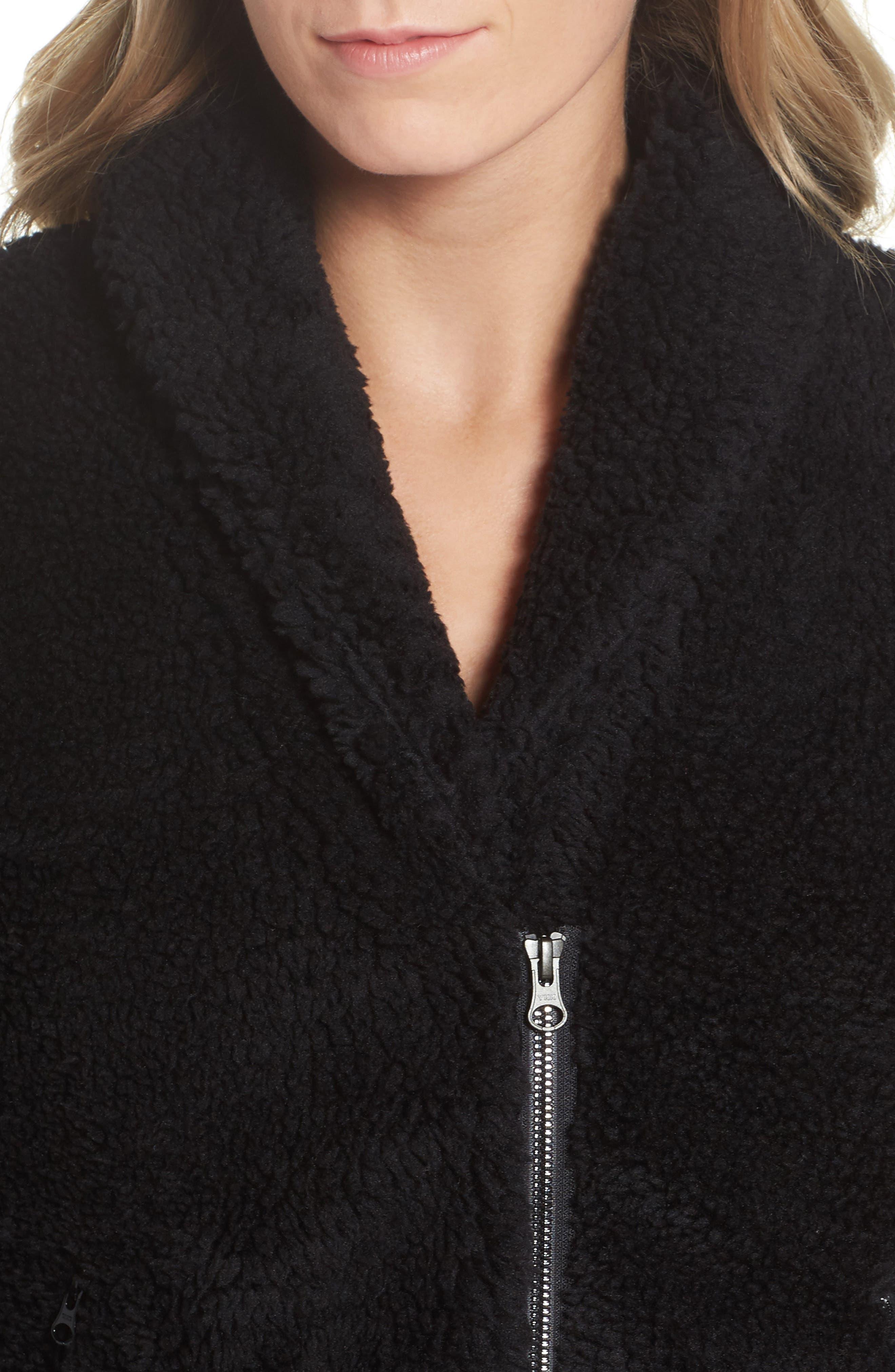 Cozy Up Faux Fur Crop Jacket,                             Alternate thumbnail 4, color,                             Black