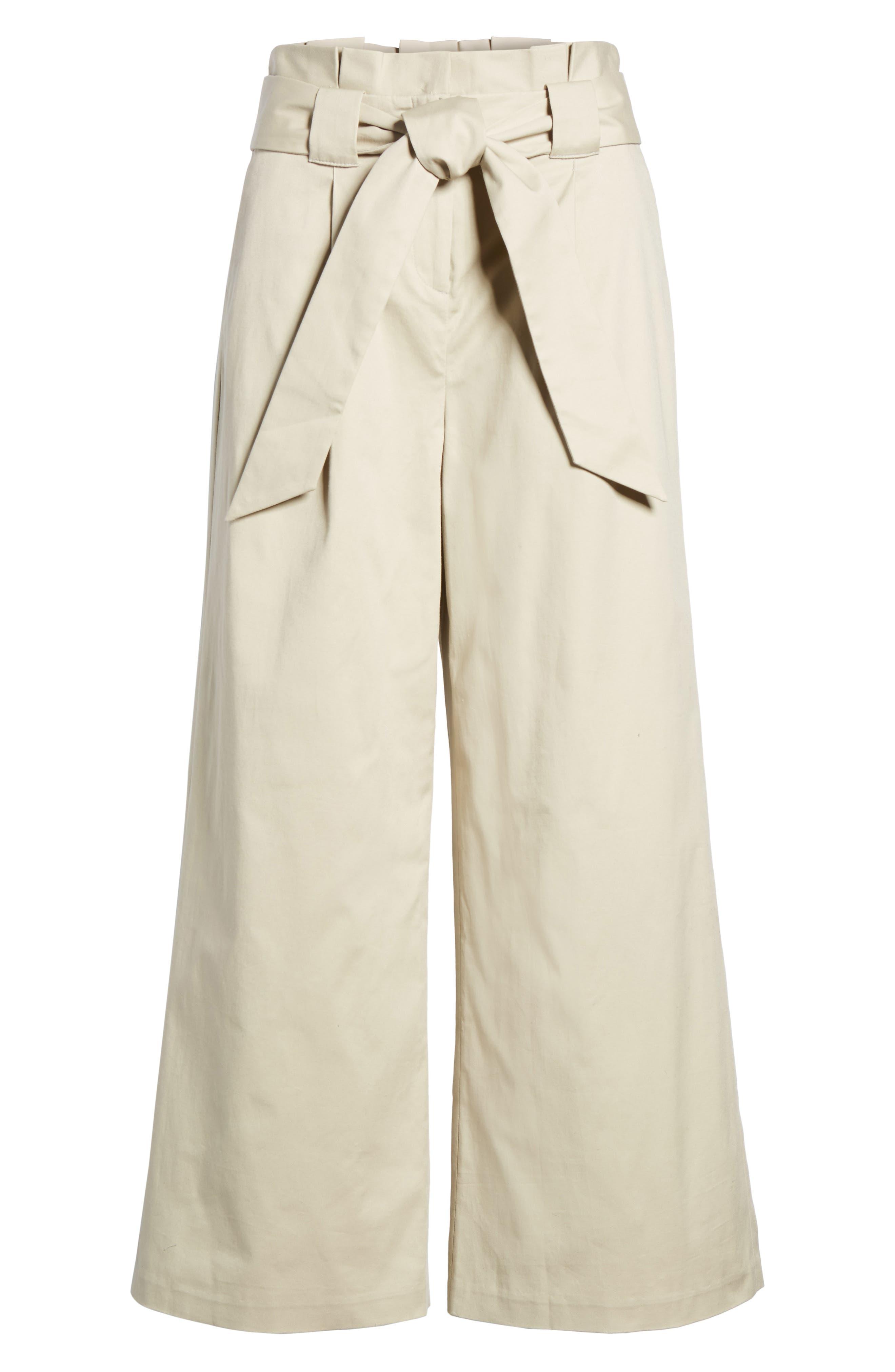 Paperbag Waist Belted Wide Leg Crop Pants,                             Alternate thumbnail 7, color,                             Tan Oxford