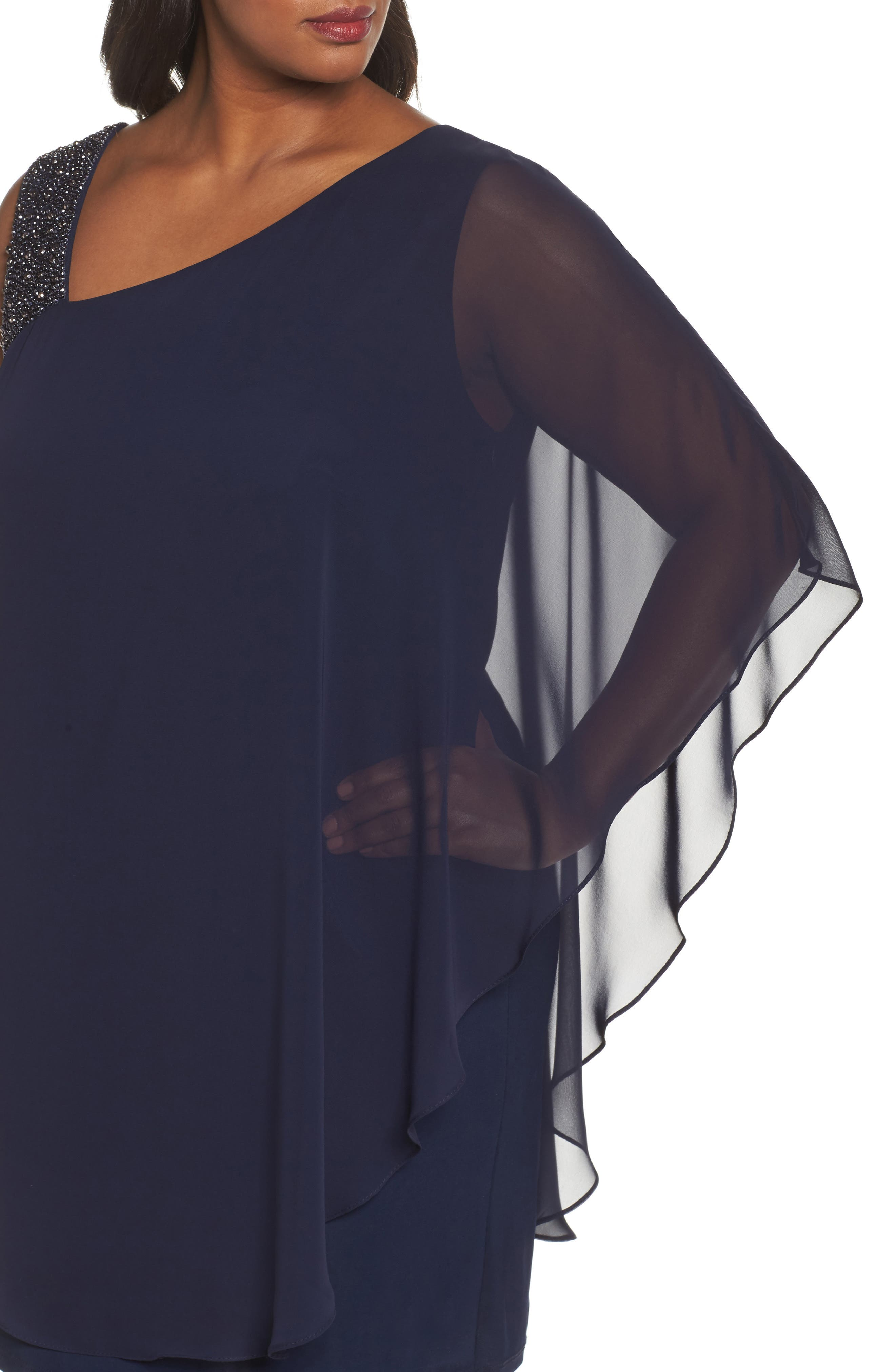 Alternate Image 4  - Xscape Embellished One-Shoulder Overlay Cocktail Dress (Plus Size)