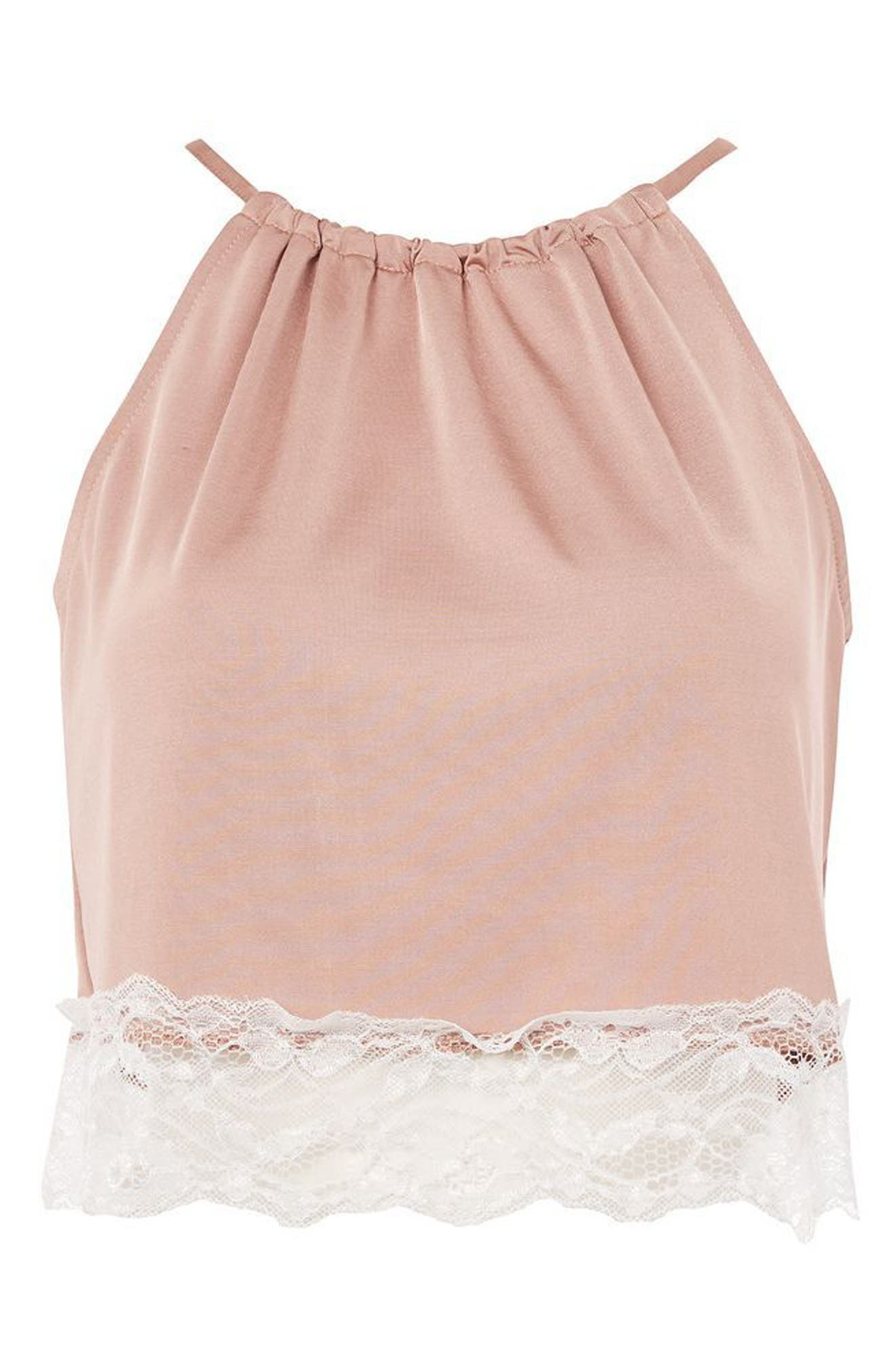 Alternate Image 3  - Topshop Satin & Lace Halter Pajama Top