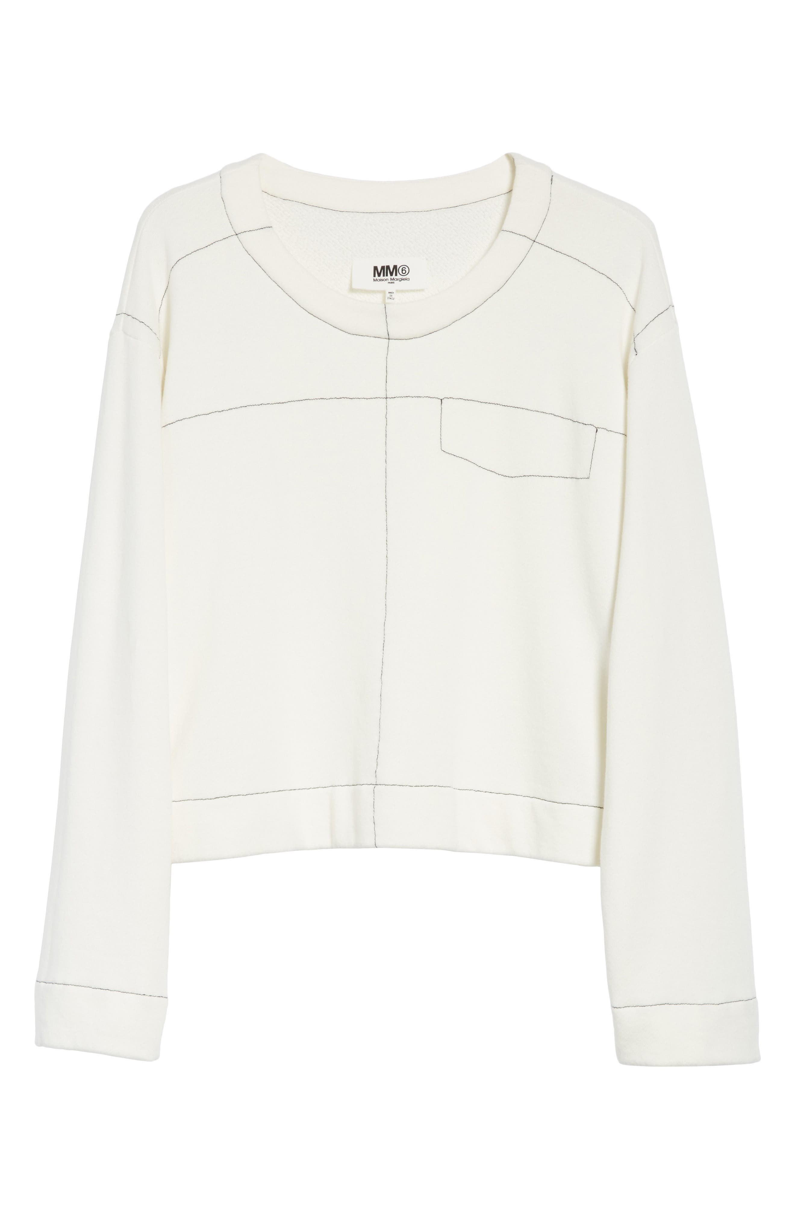 Topstitch Sweater,                             Alternate thumbnail 6, color,                             Off White