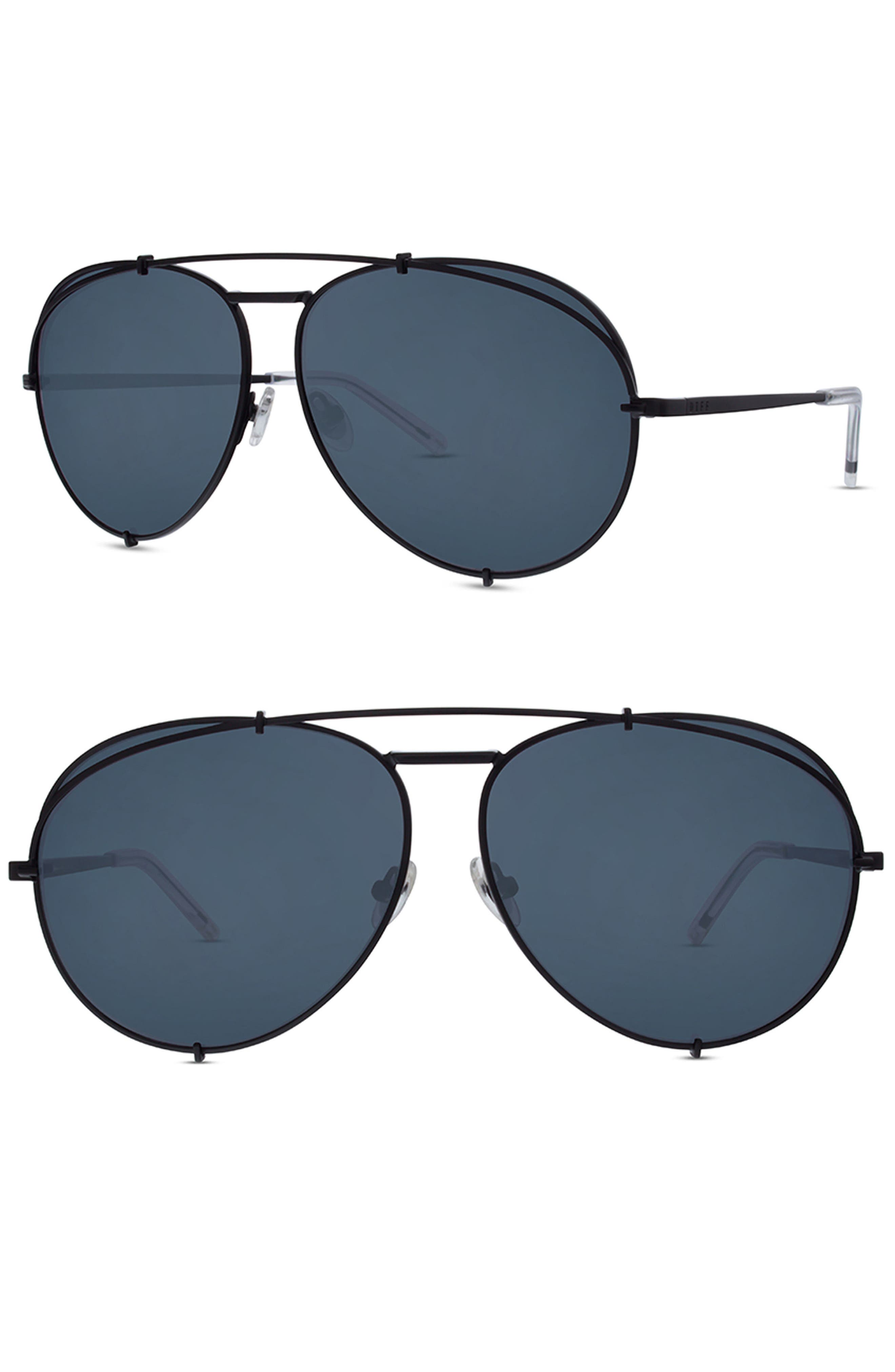x Khloé Koko 63mm Oversize Aviator Sunglasses,                         Main,                         color, Matte Black/ Grey