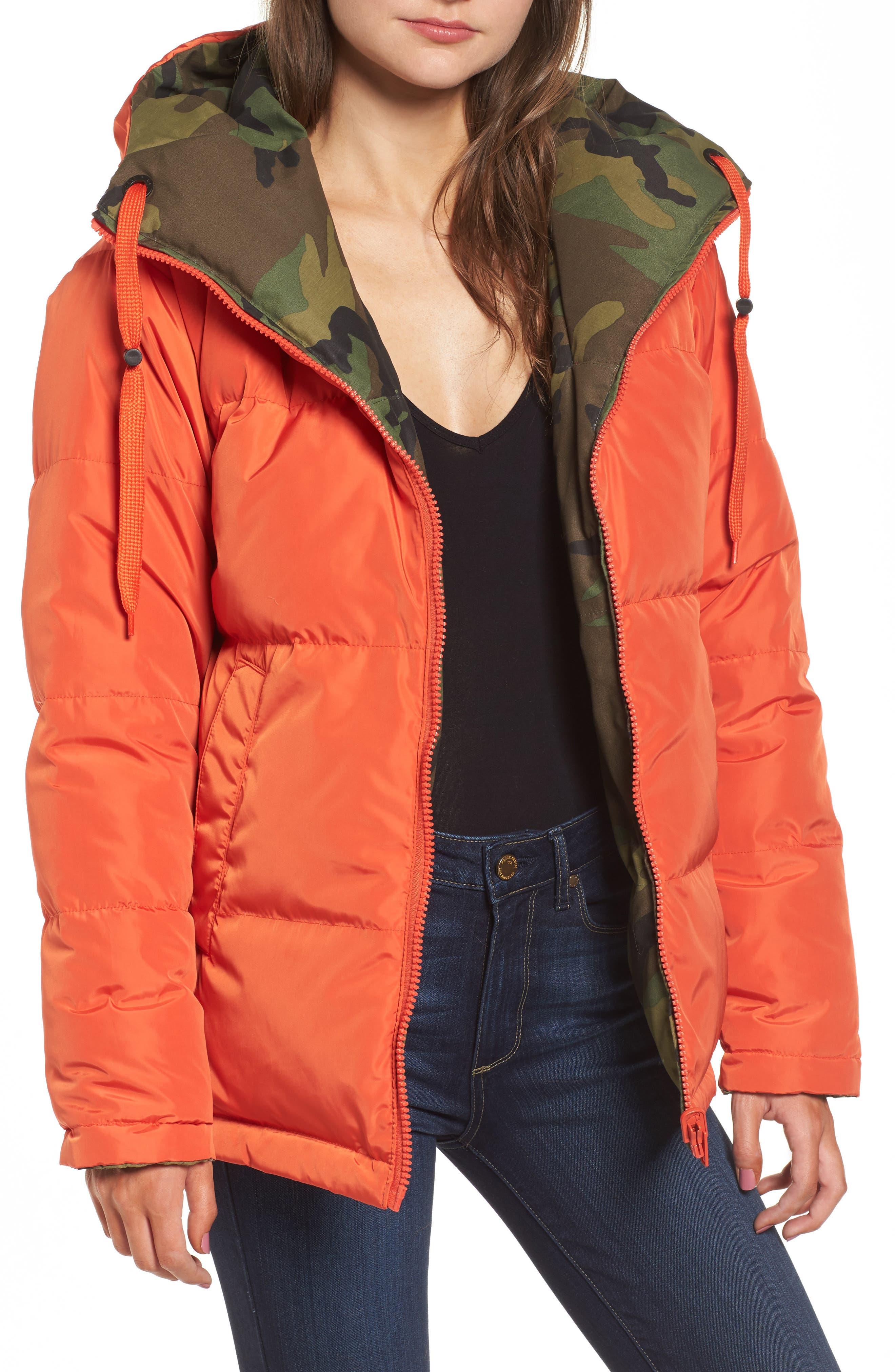 Reversible Puffer Jacket,                             Alternate thumbnail 6, color,                             Camo/ Orange
