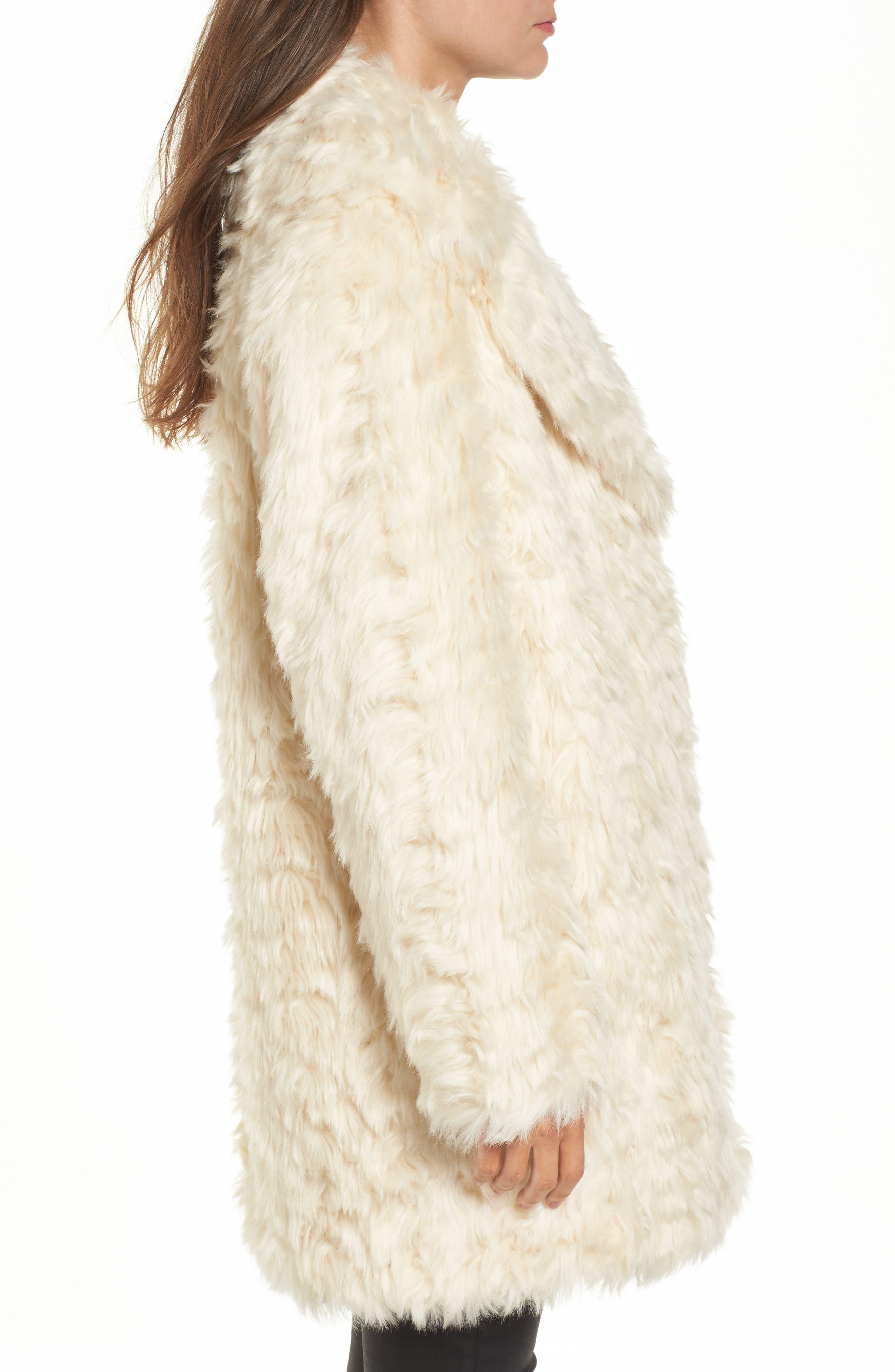 Curly Faux Fur Coat,                             Alternate thumbnail 3, color,                             Ivory