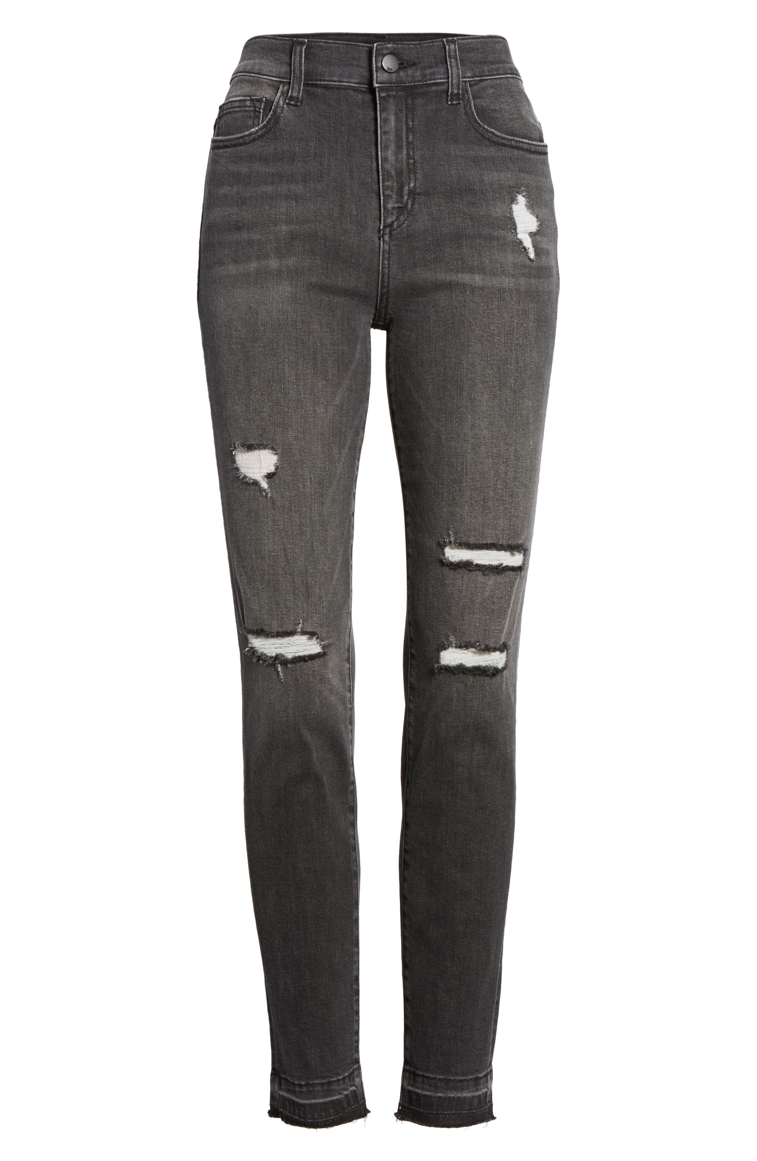 Ripped Release Hem Skinny Jeans,                             Alternate thumbnail 7, color,                             Charcoal