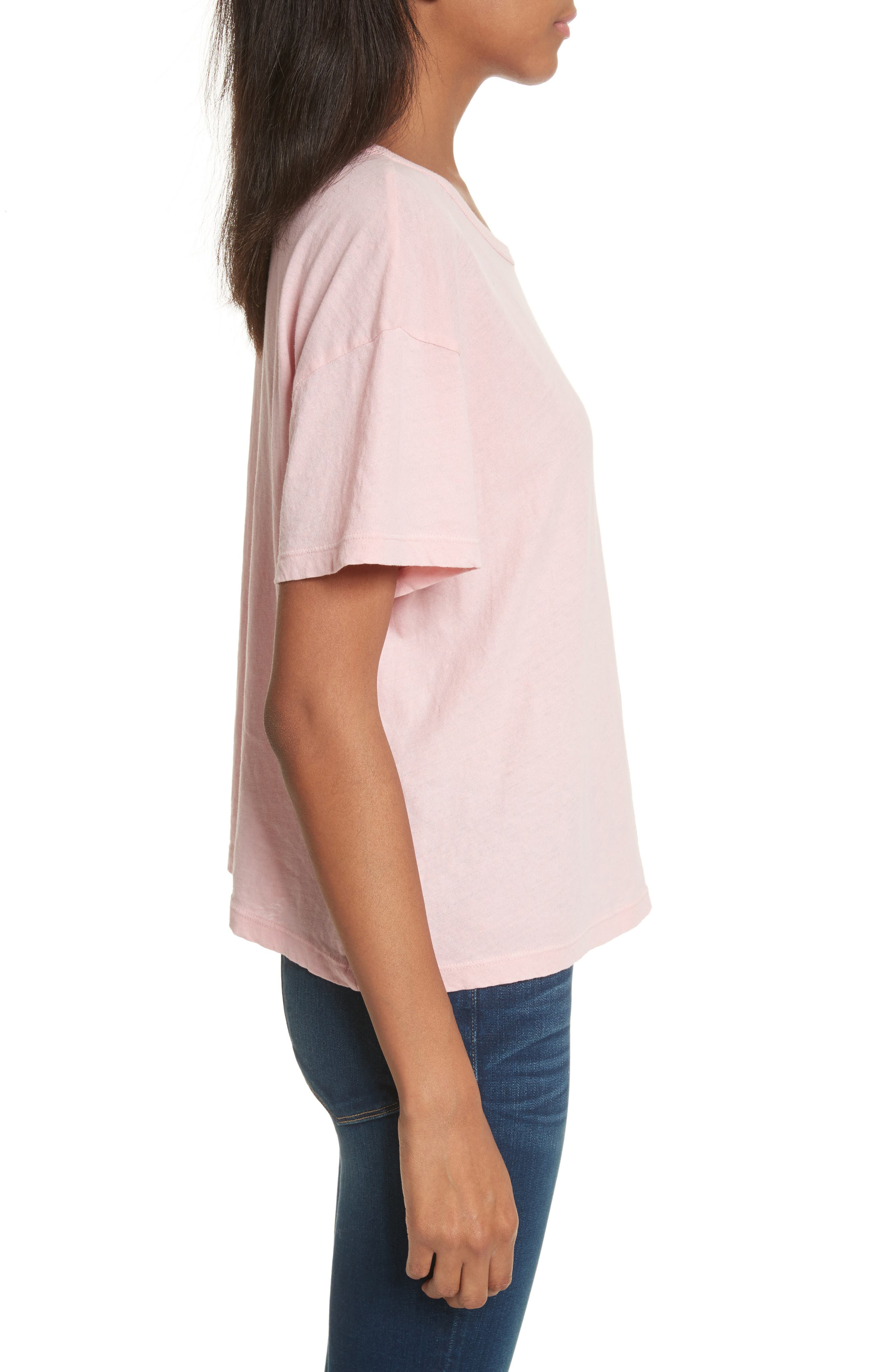Chopped Crew Tee,                             Alternate thumbnail 3, color,                             Faded Light Pink Exclusive