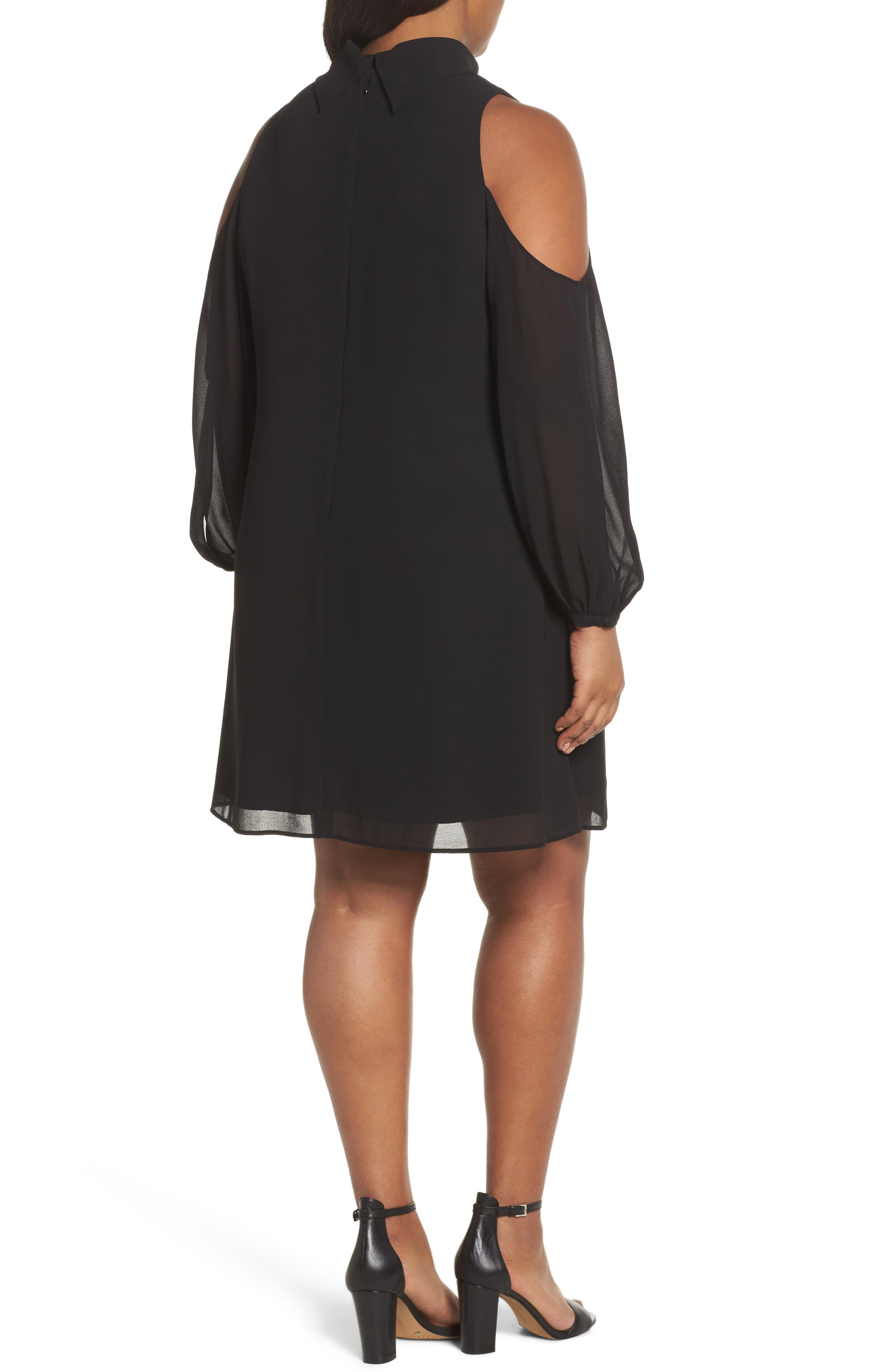Choker Chiffon Dress,                             Alternate thumbnail 2, color,                             Black