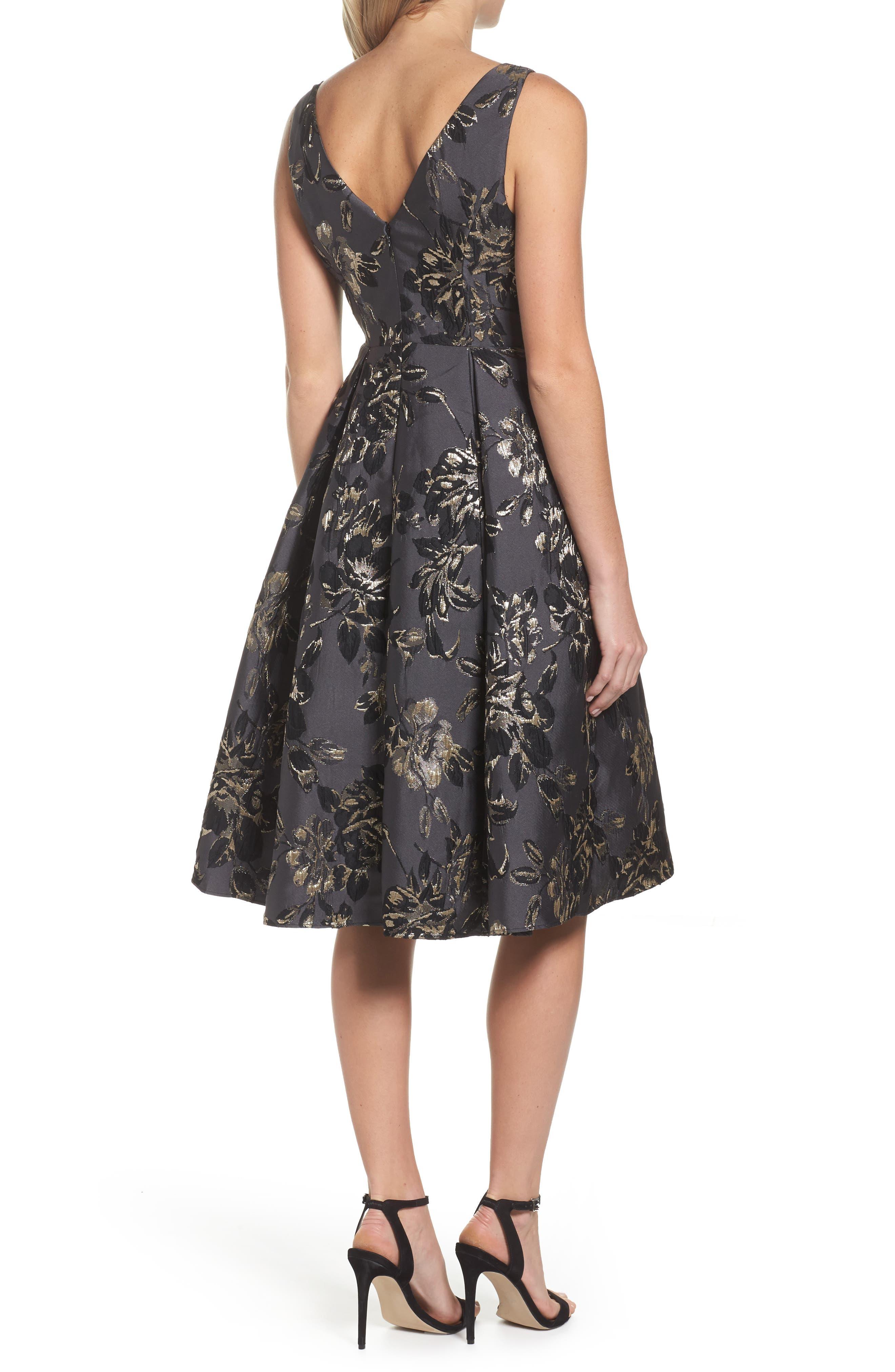 Jessa Fit & Flare Dress,                             Alternate thumbnail 2, color,                             Black Multi