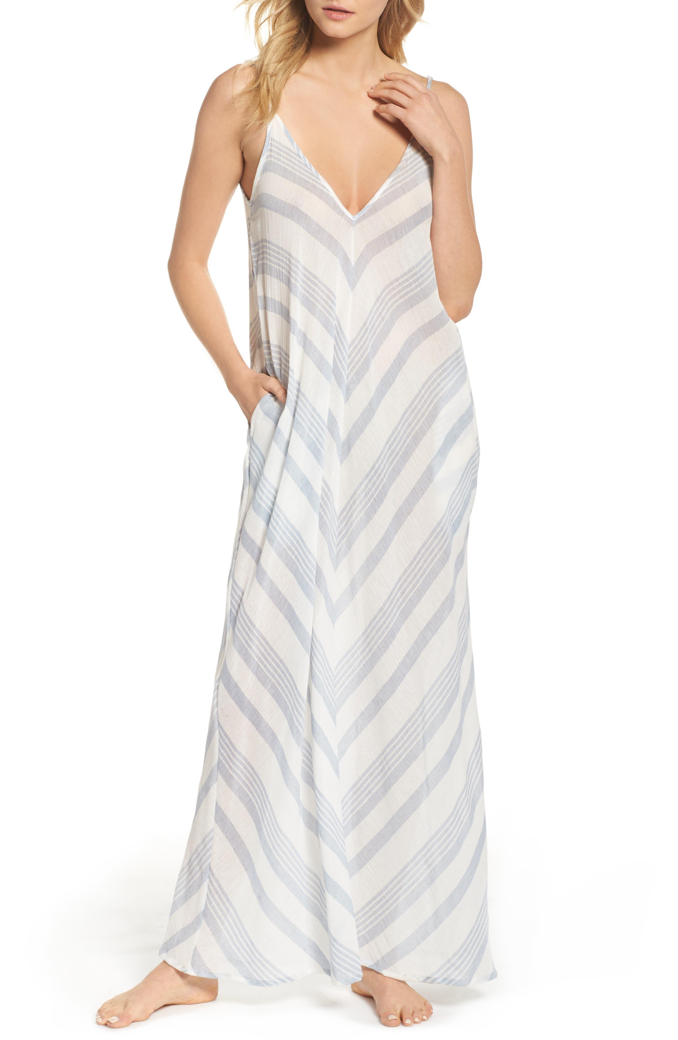 V-Back Cover-Up Maxi Dress,                         Main,                         color, Dusty Blue Stripe Td
