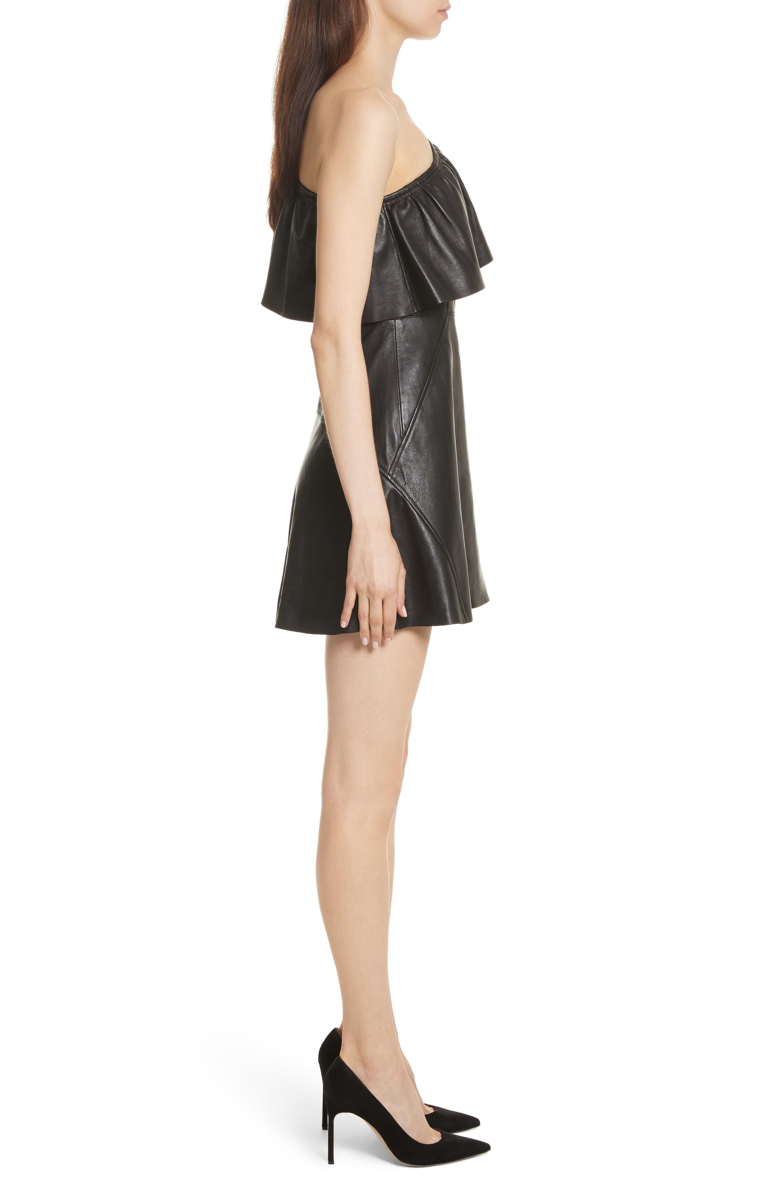 Kahlo Ruffle One-Shoulder Leather Dress,                             Alternate thumbnail 3, color,                             Black