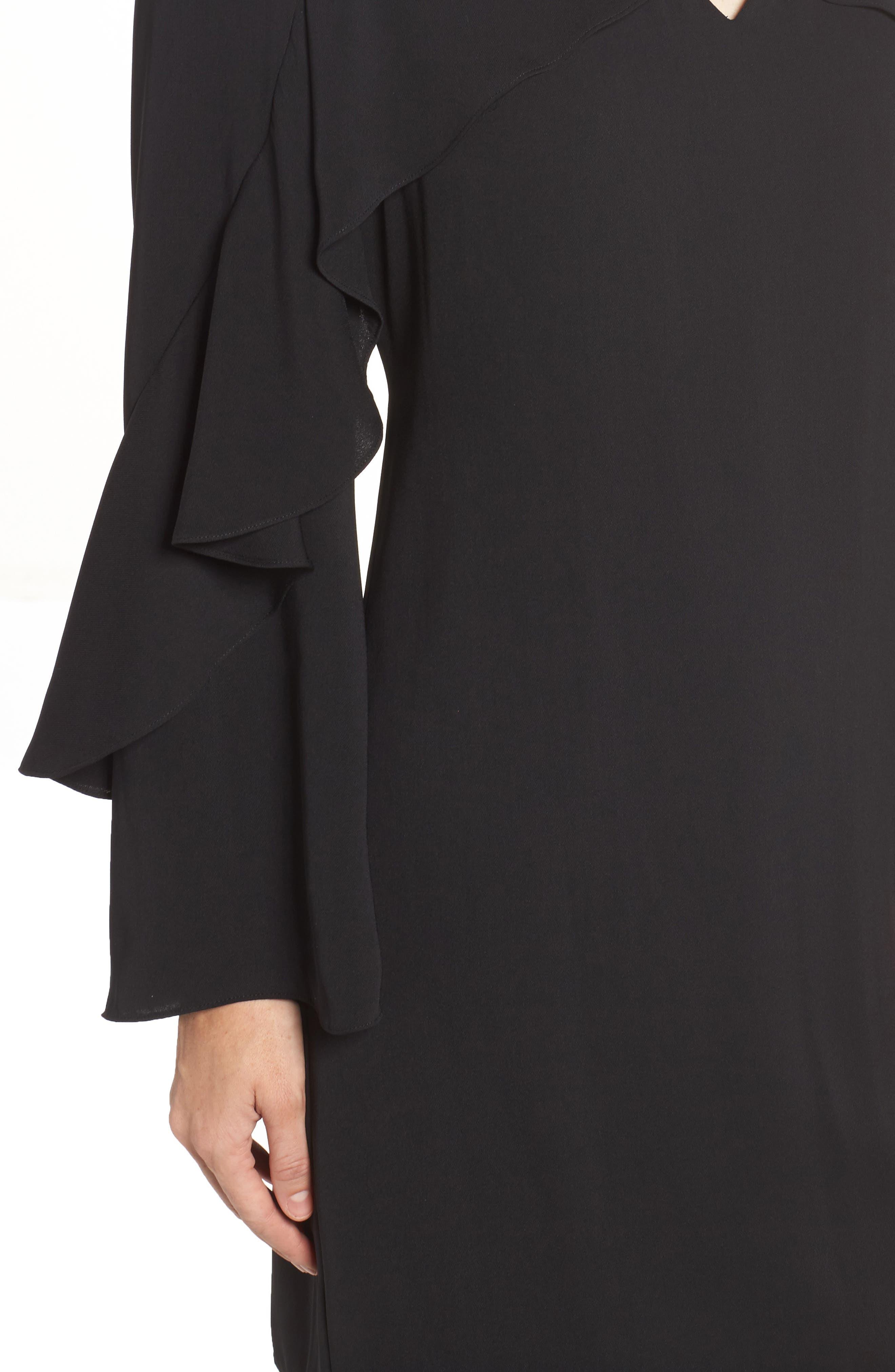 Sherryl Ruffle Sleeve Shift Dress,                             Alternate thumbnail 4, color,                             Black