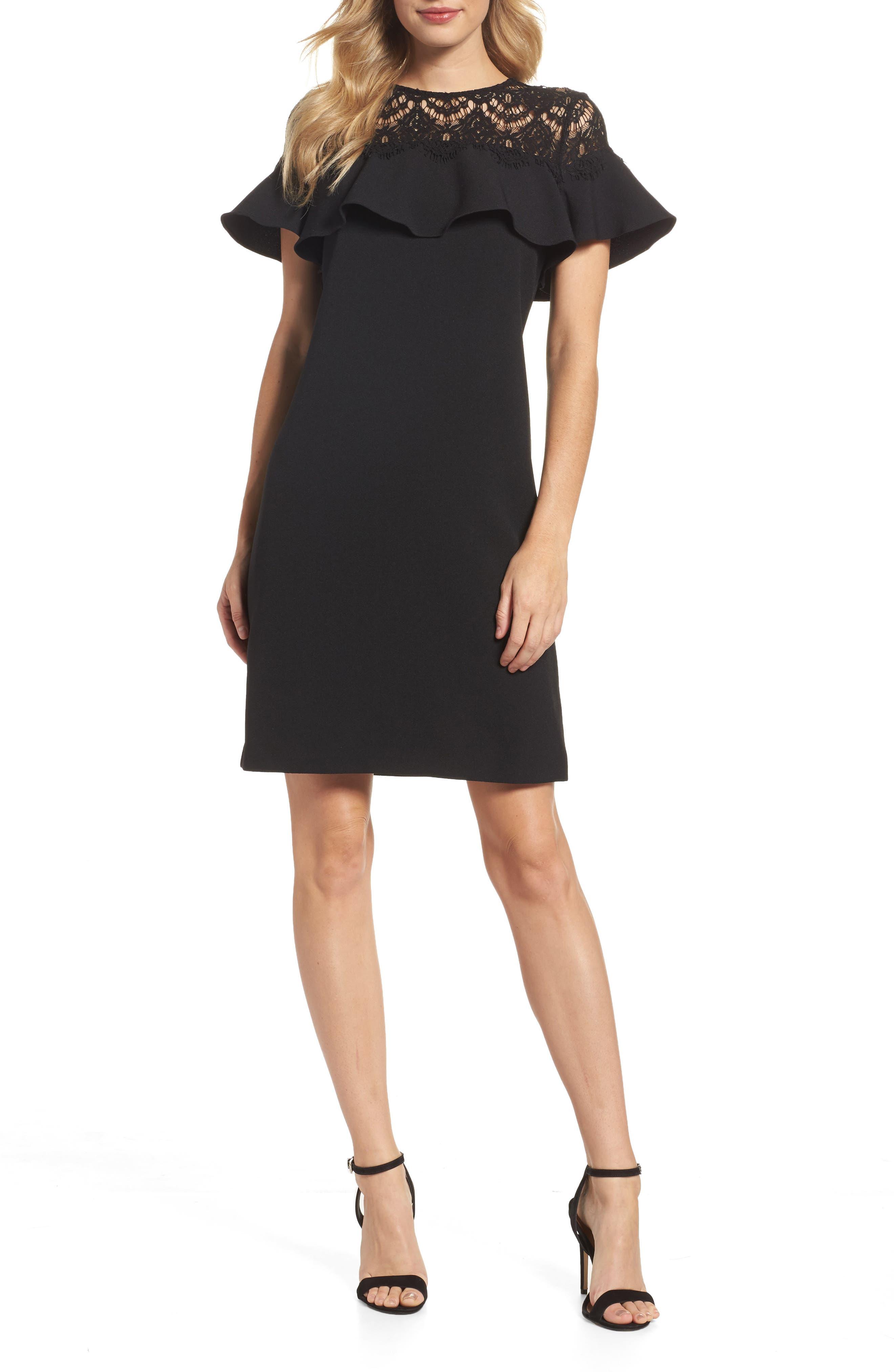 Lace Ruffle Sheath Dress,                         Main,                         color, Black