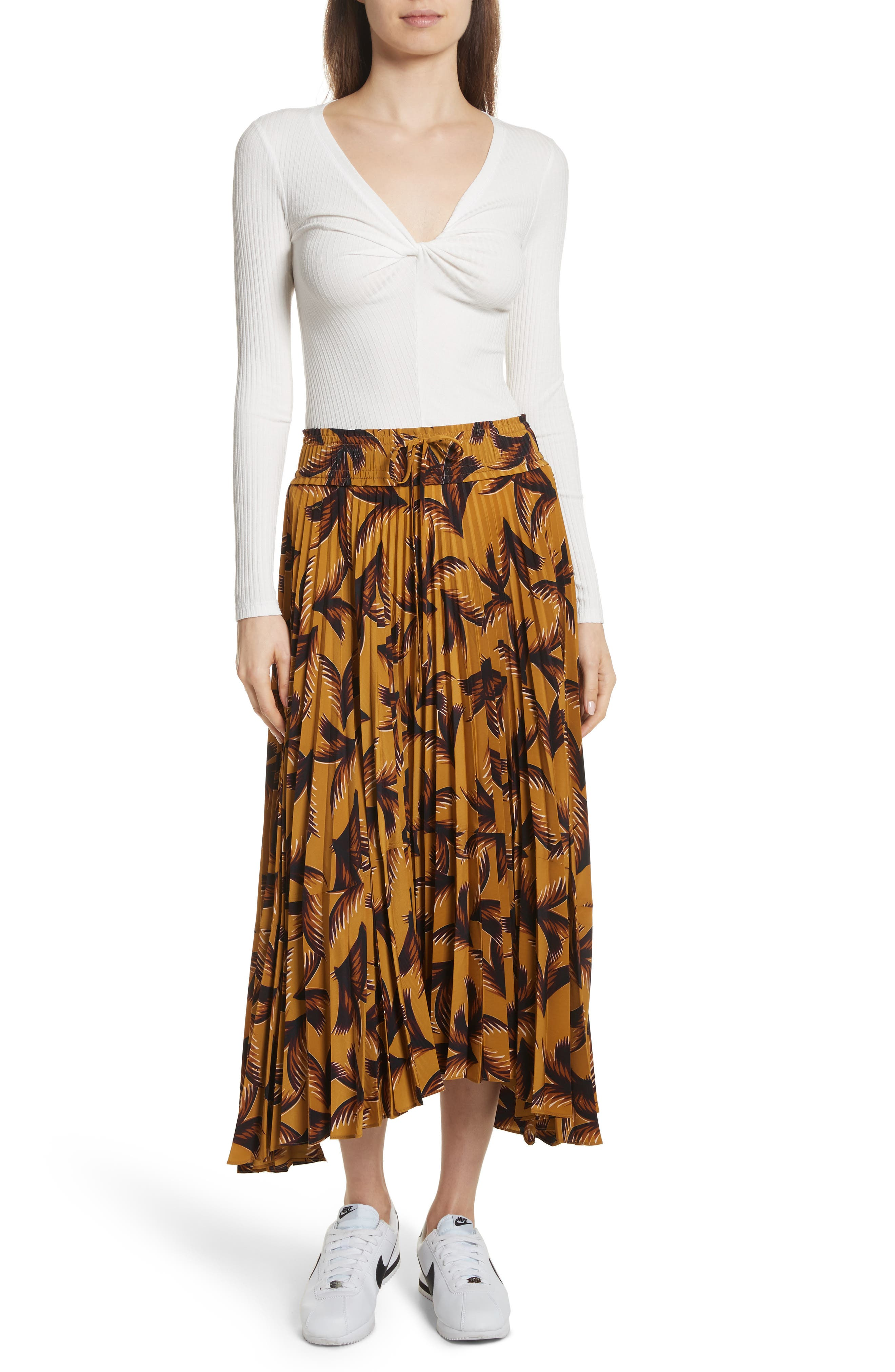 Maya Pleated A-Line Skirt,                             Alternate thumbnail 2, color,                             Gold