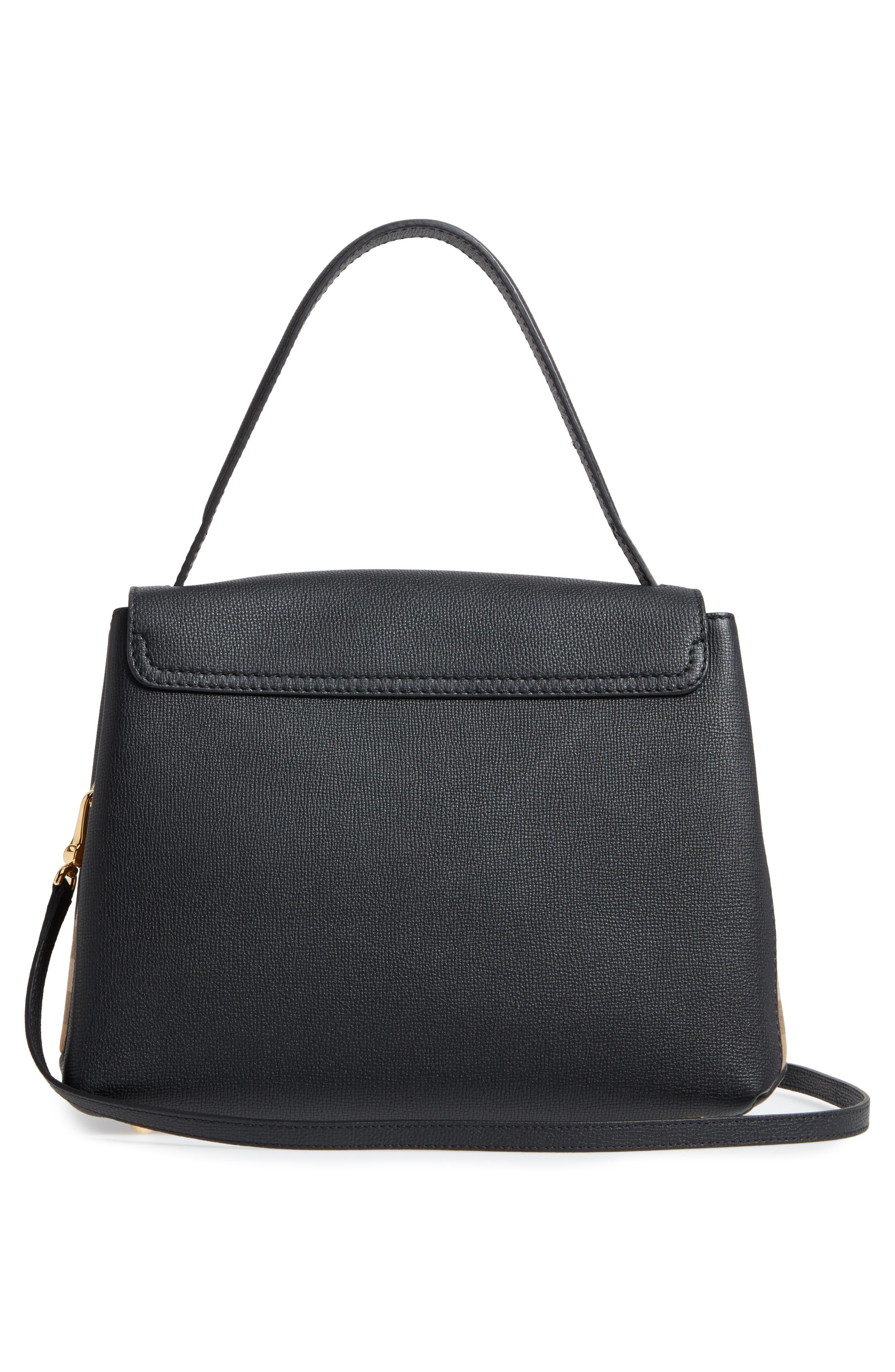 Medium Camberley Leather & House Check Top Handle Satchel,                             Alternate thumbnail 3, color,                             Black