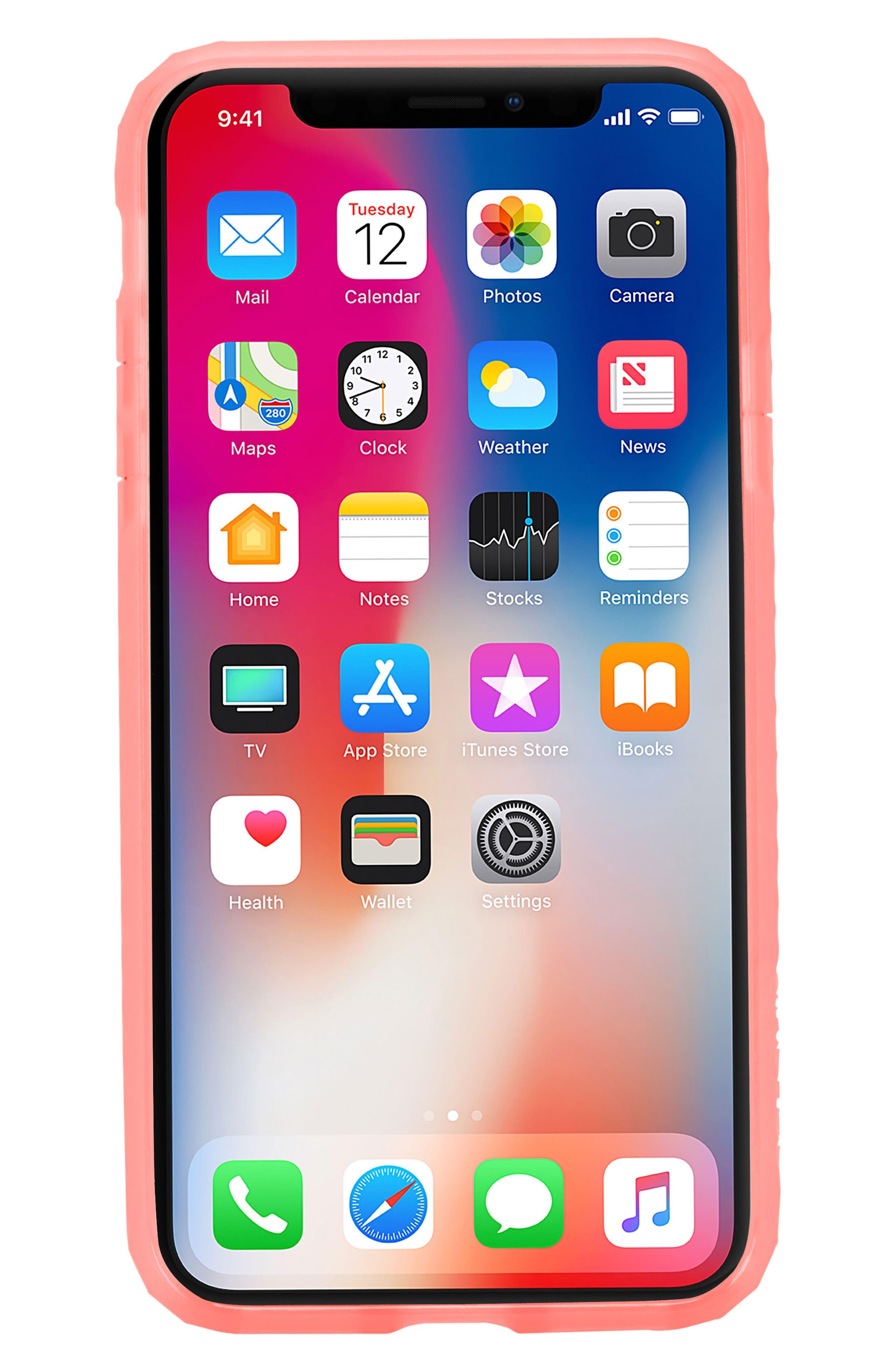 Protective Lattice iPhone X Case,                             Alternate thumbnail 8, color,                             Coral