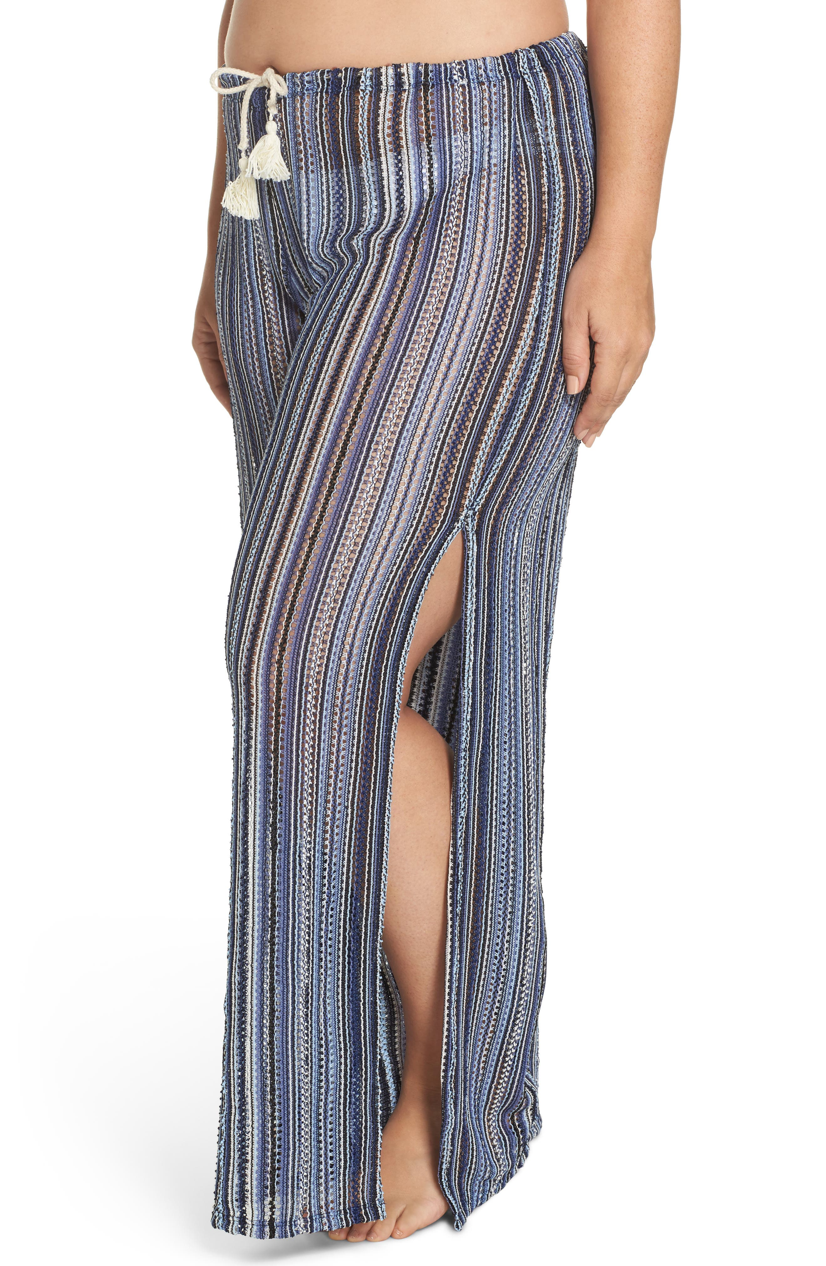 Pierside Cover-Up Flyaway Pants,                             Alternate thumbnail 4, color,                             Black Multi