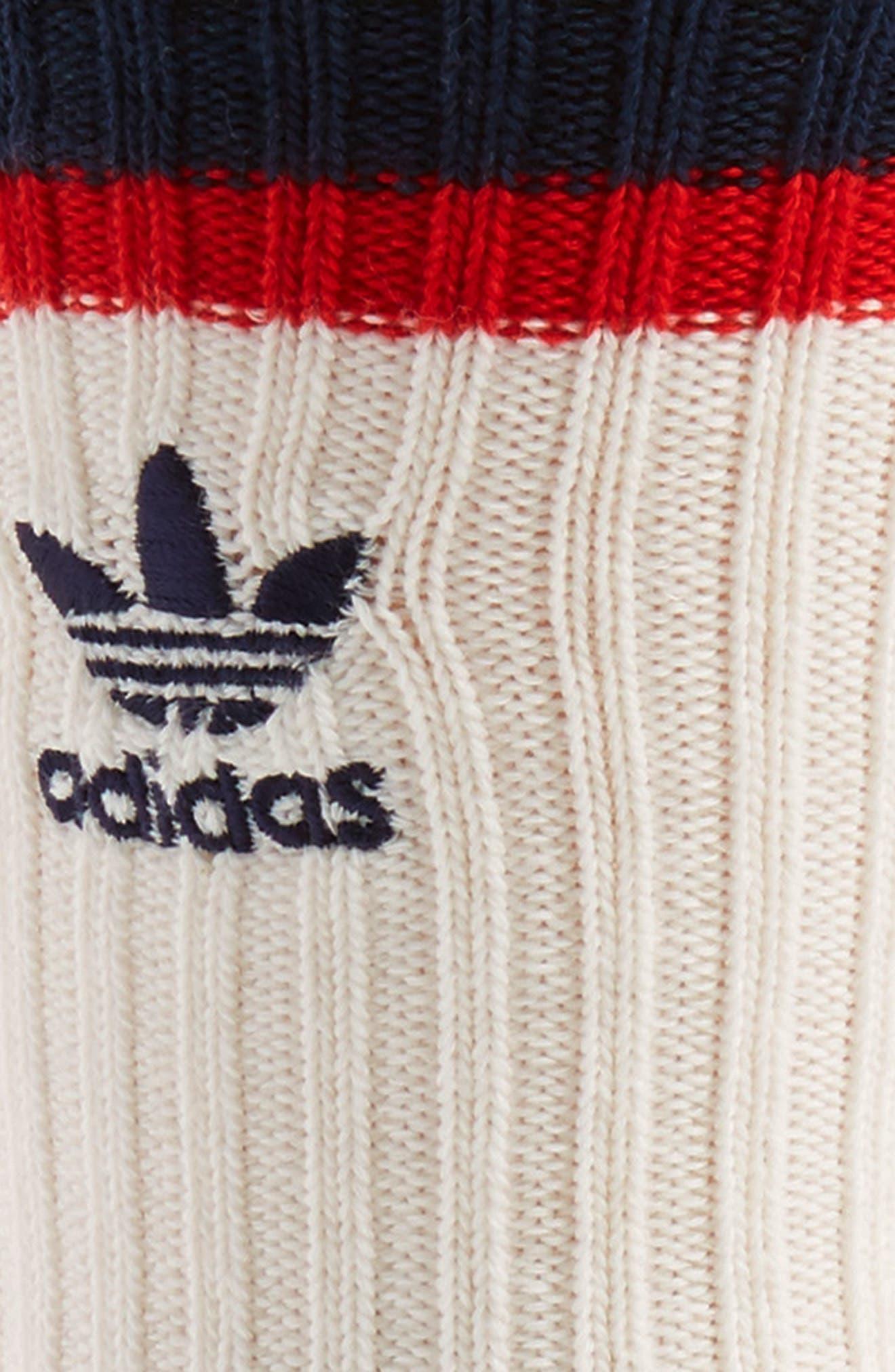 Ribbed Socks,                             Alternate thumbnail 2, color,                             Off White/ Navy/ Scarlet