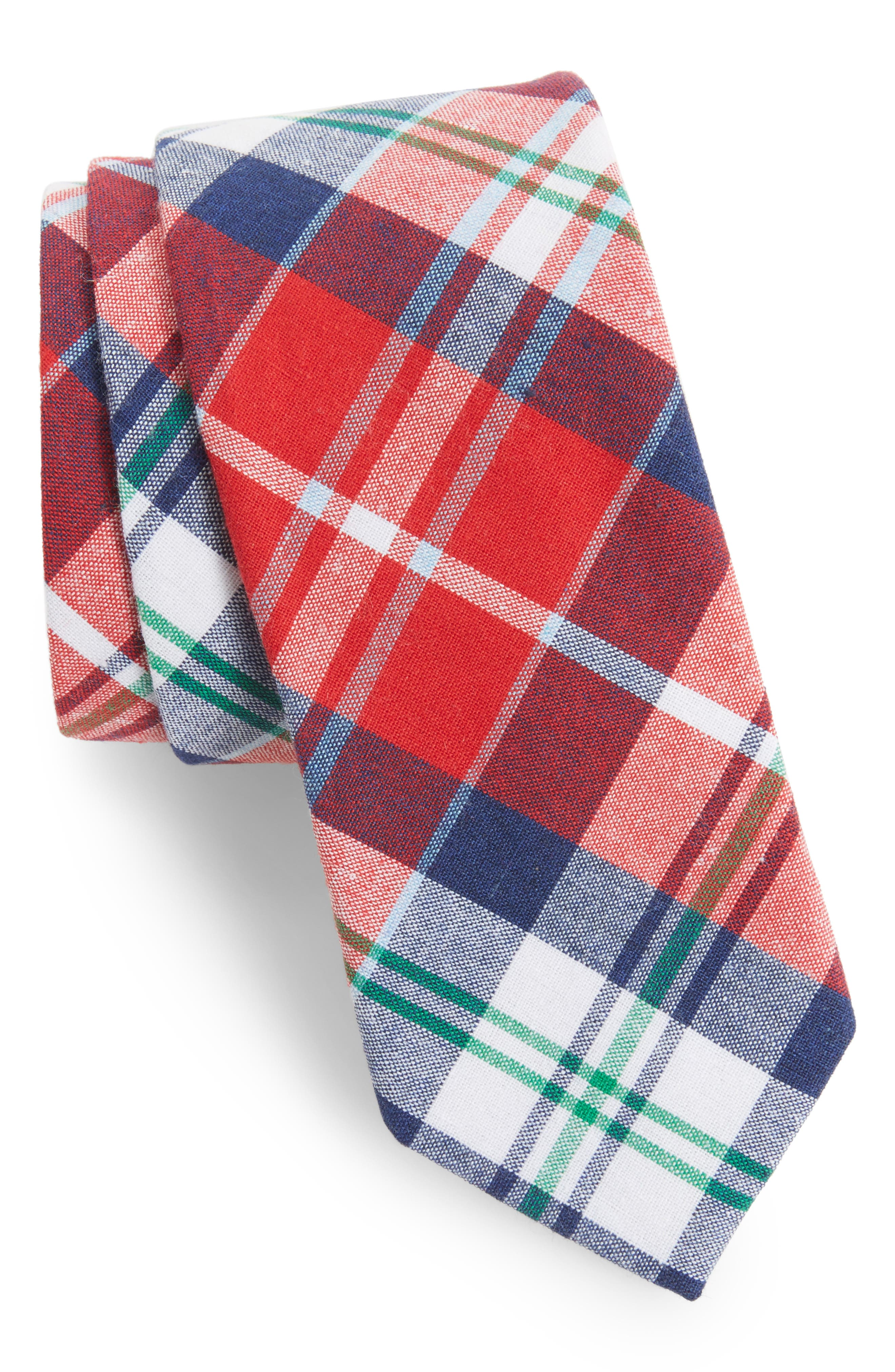 1901 Ascot Plaid Cotton Skinny Tie